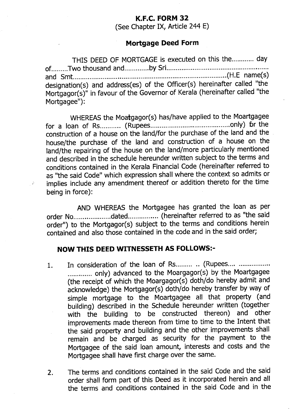 Mortgage Deed Form Example Free Download