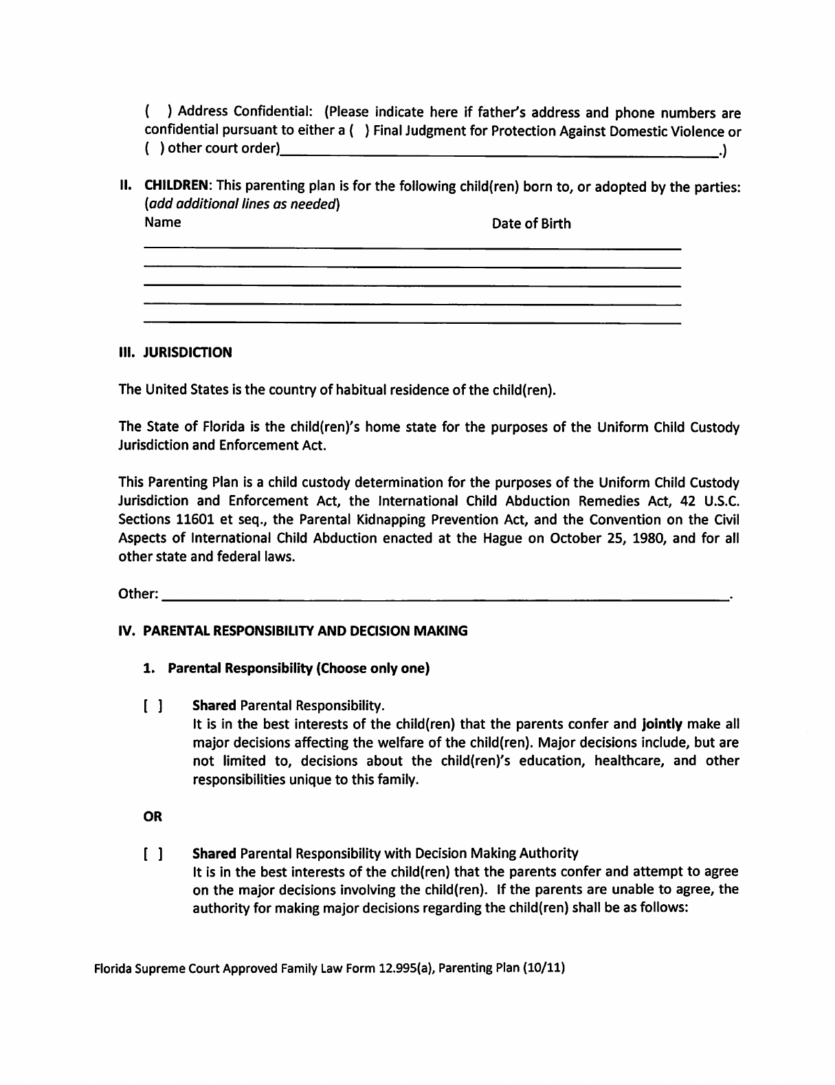 Sample Parenting Plan Template - Florida Free Download