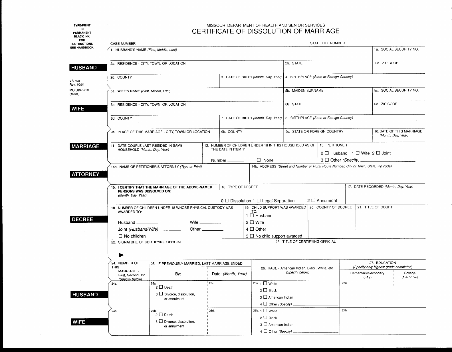 Certificate Of Dissolution Of Marriage Missouri Free Download