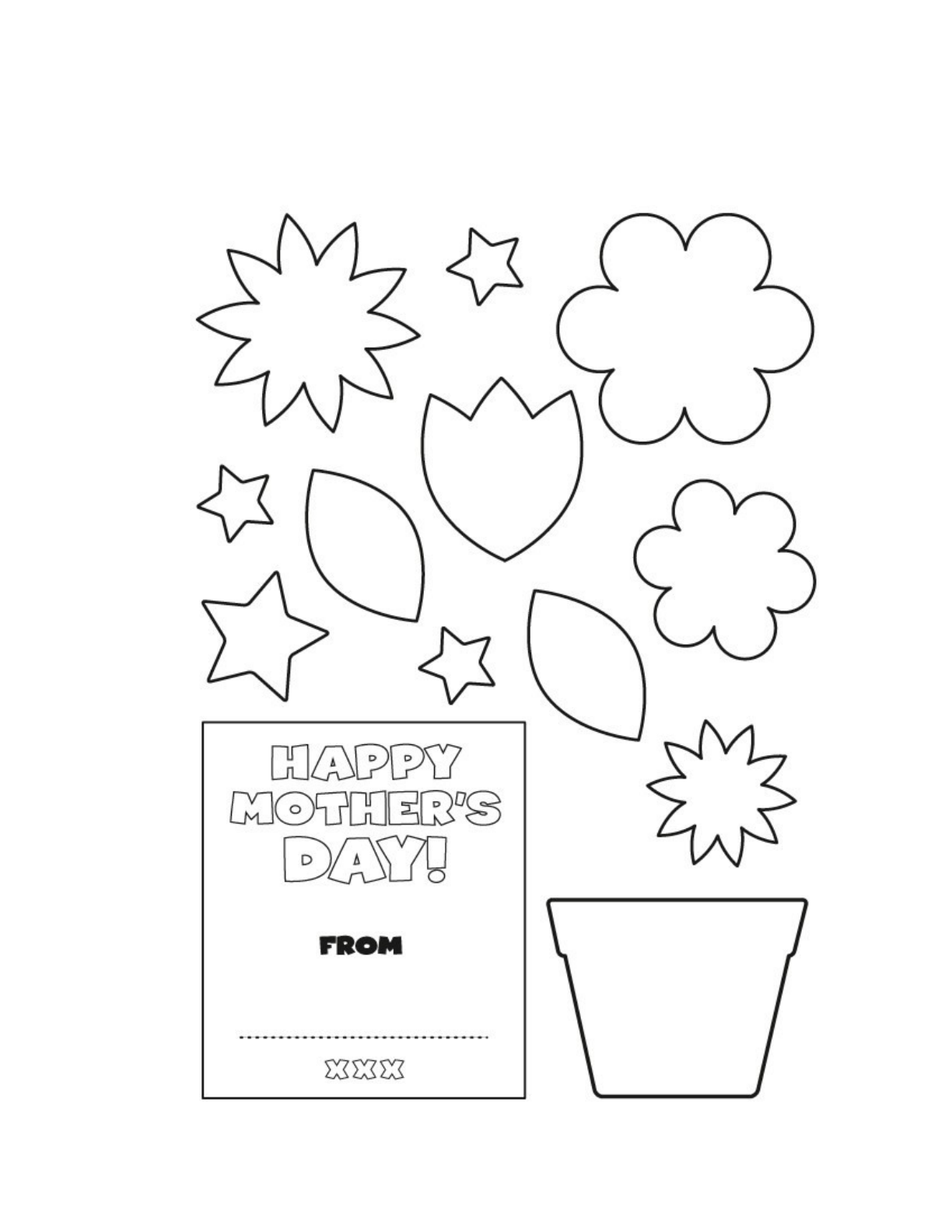 Mothers Day Flower Pot Card Template Free Download - Free mother's day card templates