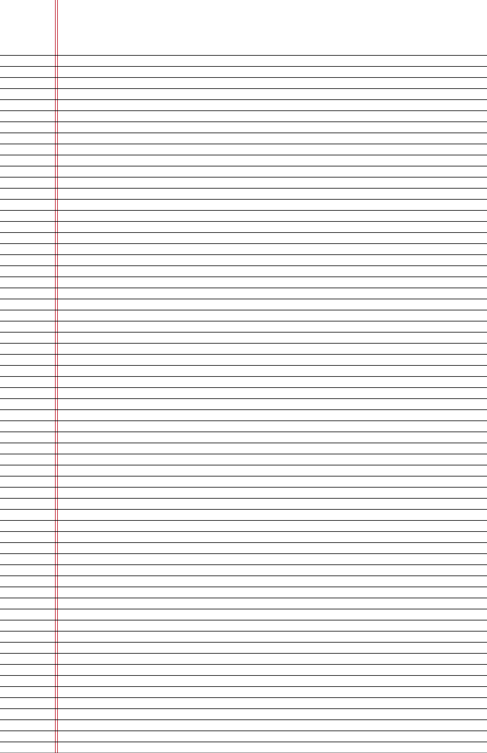 Narrow Ruled Lined Paper On Ledger Sized Paper In Portrait