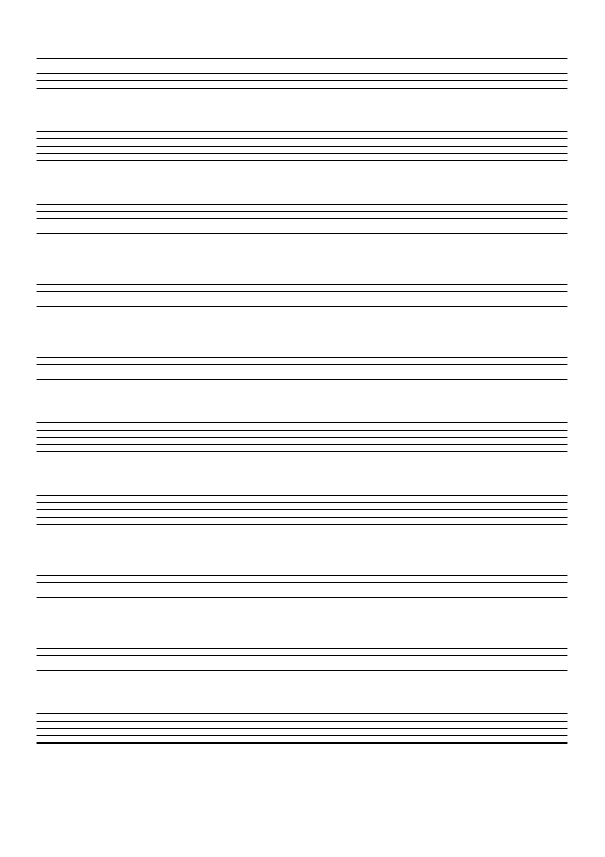 Music Paper With Ten Staves On A4 Sized Paper In Portrait