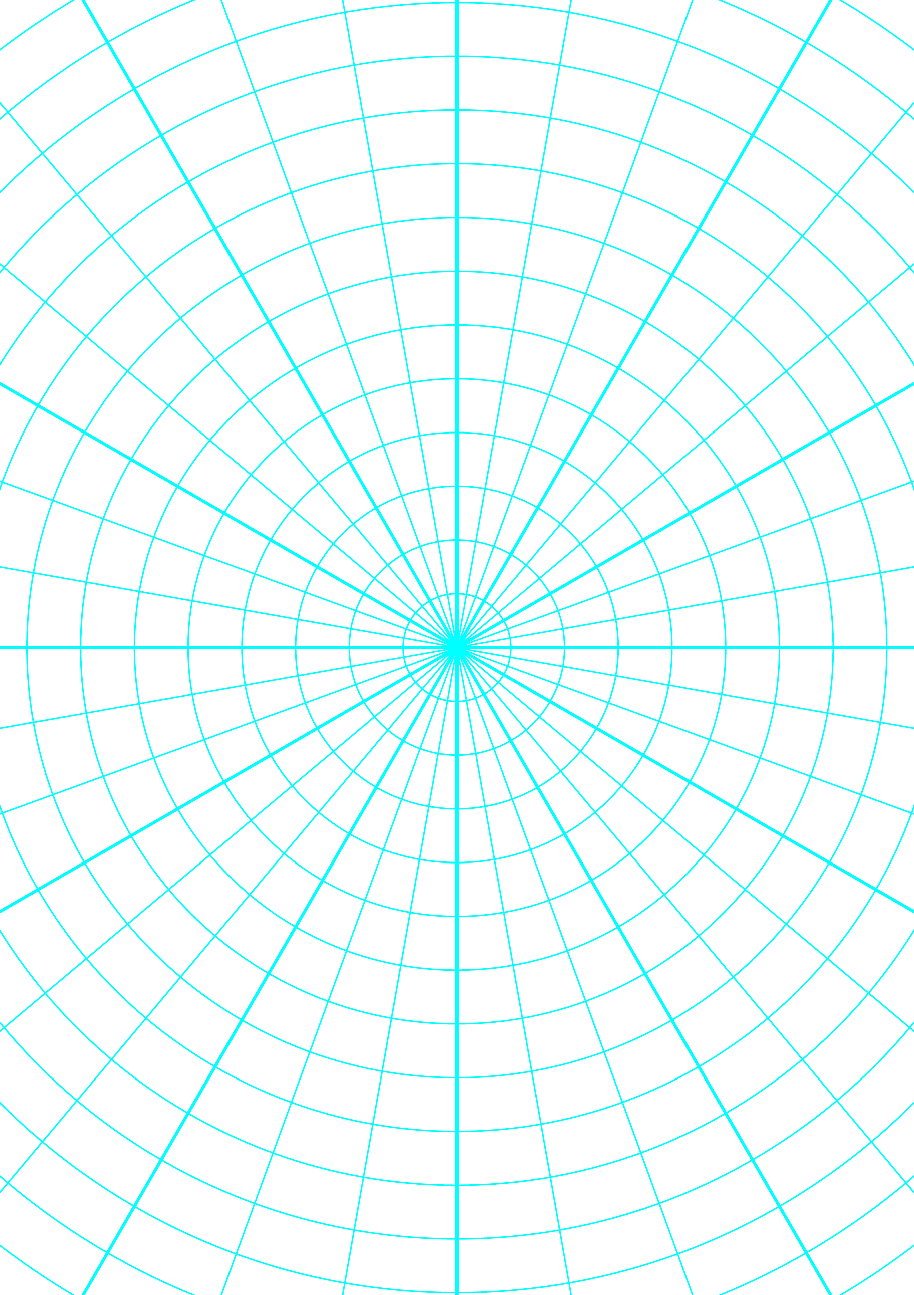 polar graph paper with 10 degree angles and 1  2