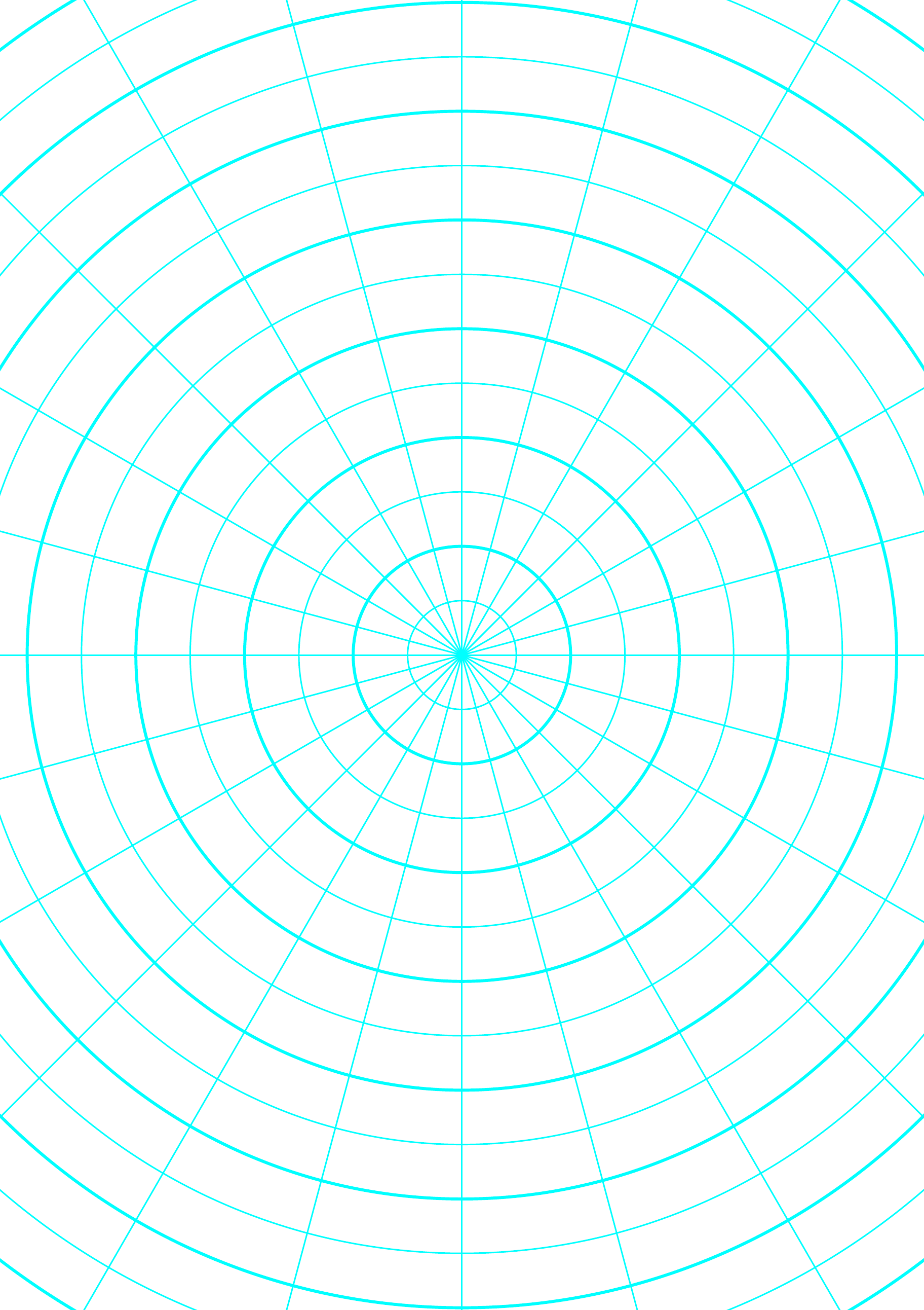 Polar Graph Paper With 15 Degree Angles And 1 2 Inch