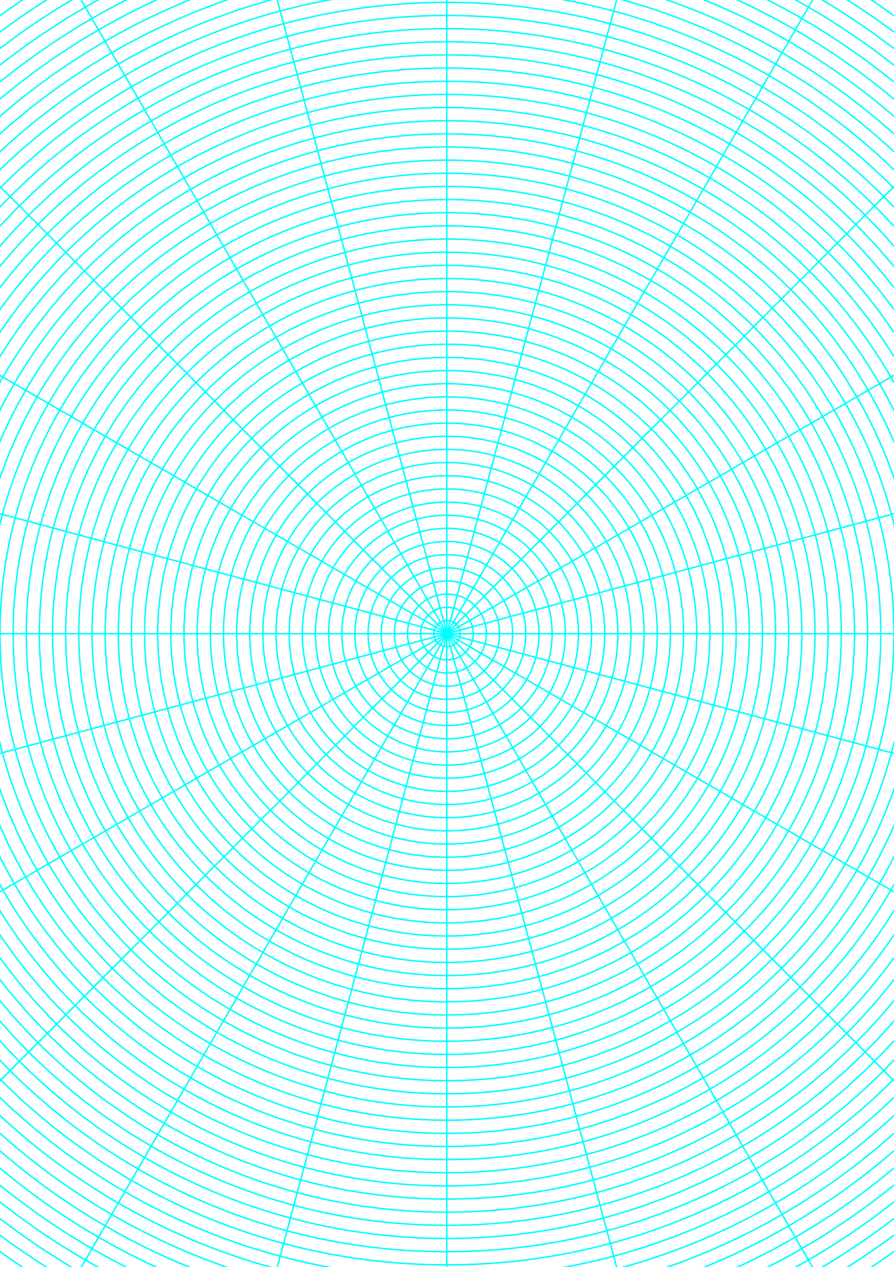 polar graph paper with 15 degree angles and 1  8