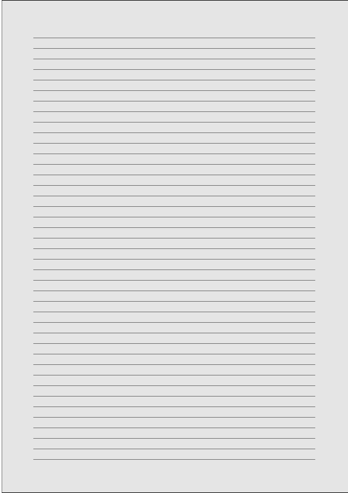 A4 Size Lined Paper with Narrow Black Lines - Light Gray ...