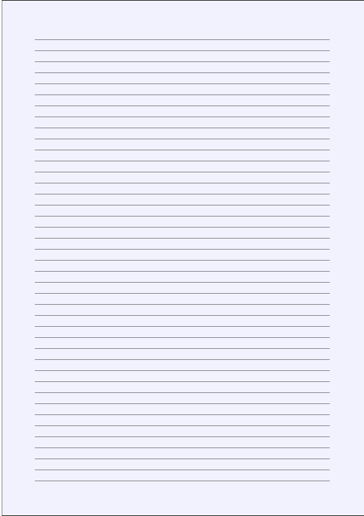A4 Size Lined Paper with Narrow Black Lines - Pale Blue ...