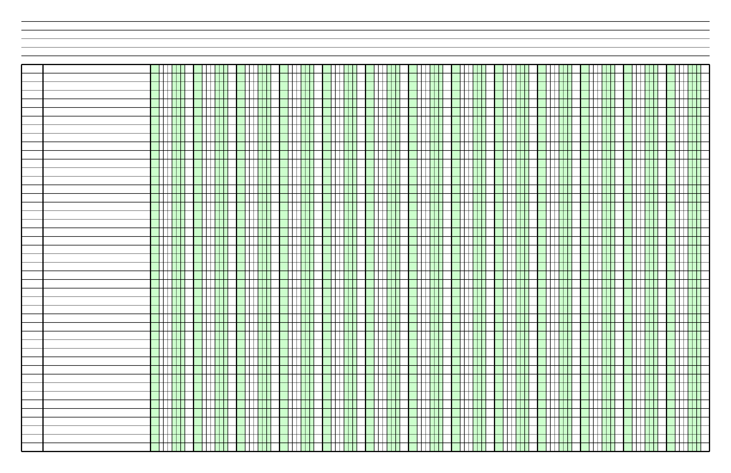 columnar paper with thirteen columns on ledger