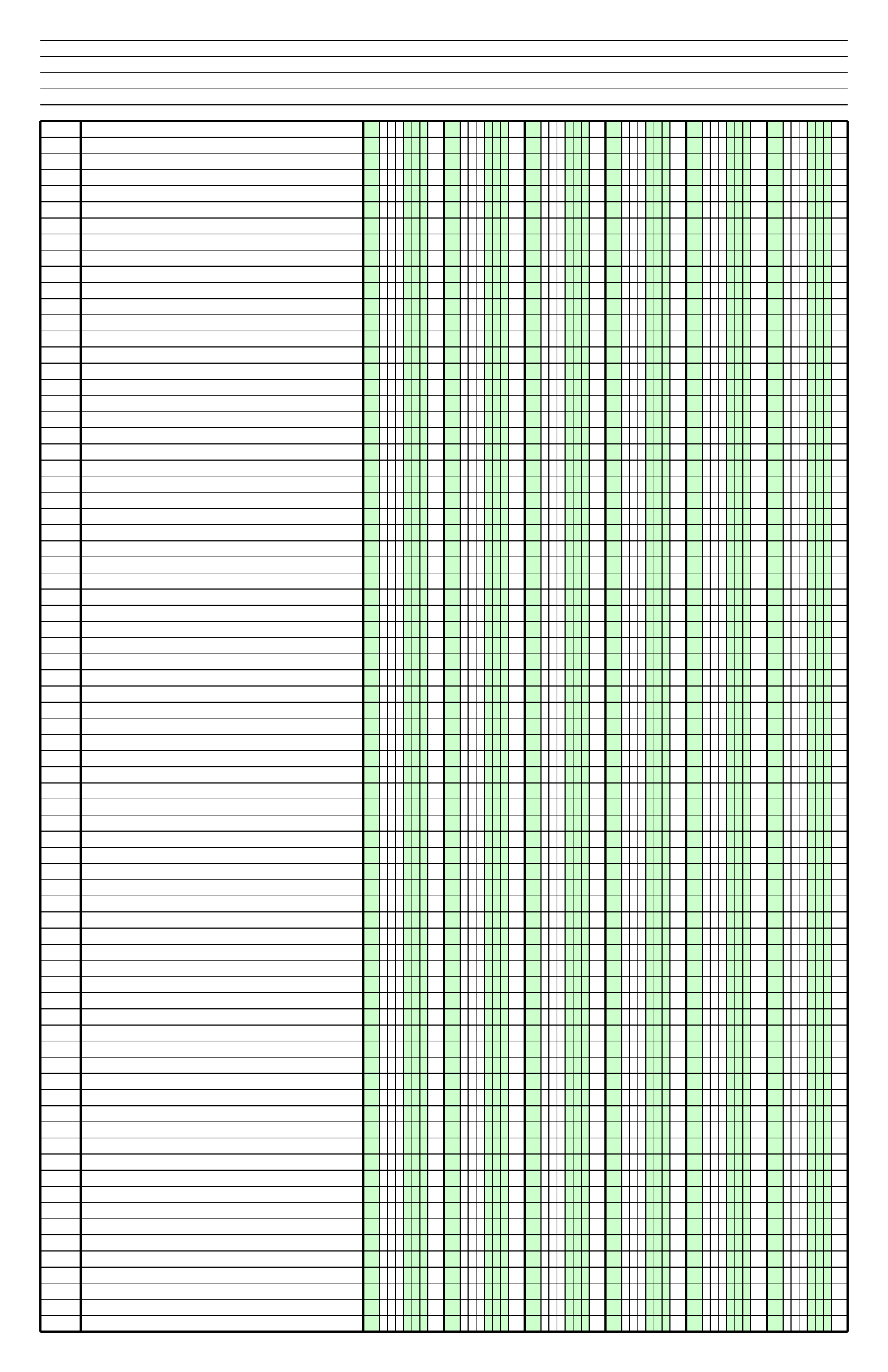 columnar paper with six columns on ledger