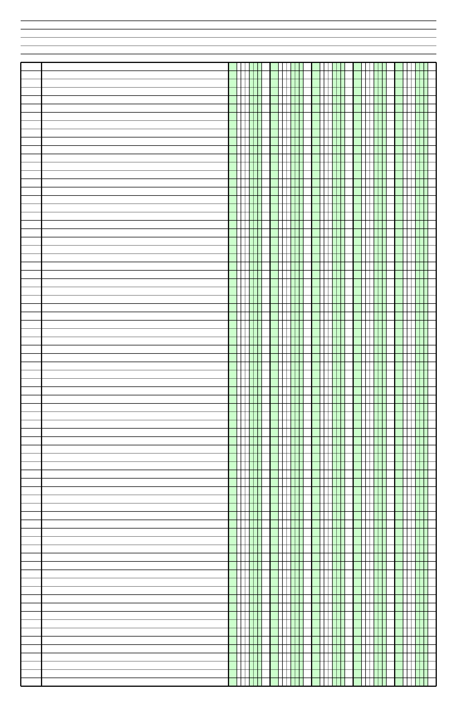 columnar paper with five columns on ledger