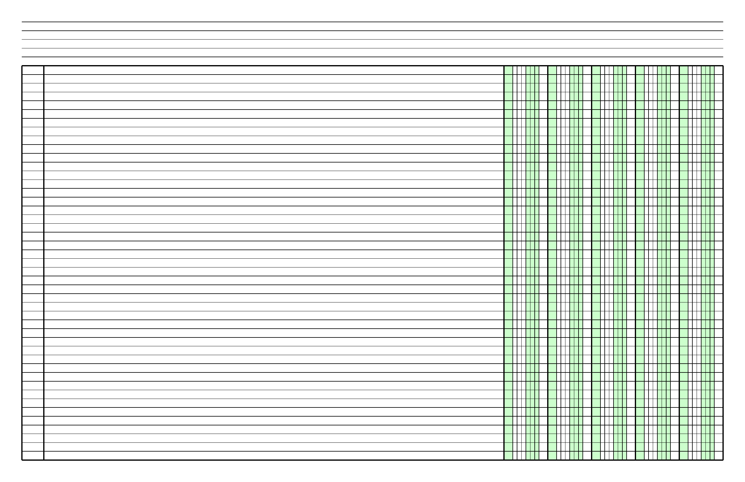 columnar paper with five columns on ledgersized paper in