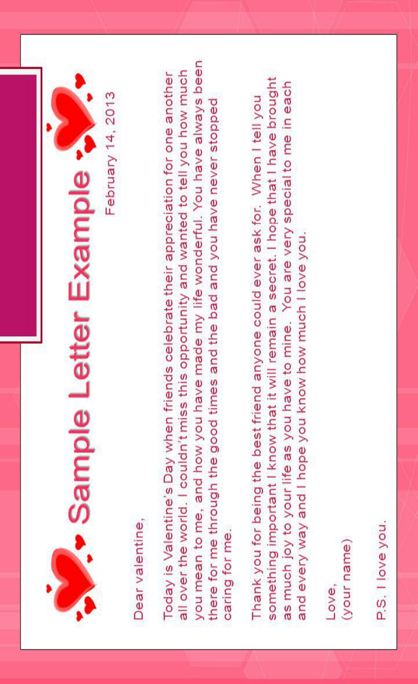 Example Of Valentines Letter For Best Friend  100 Cover Letter