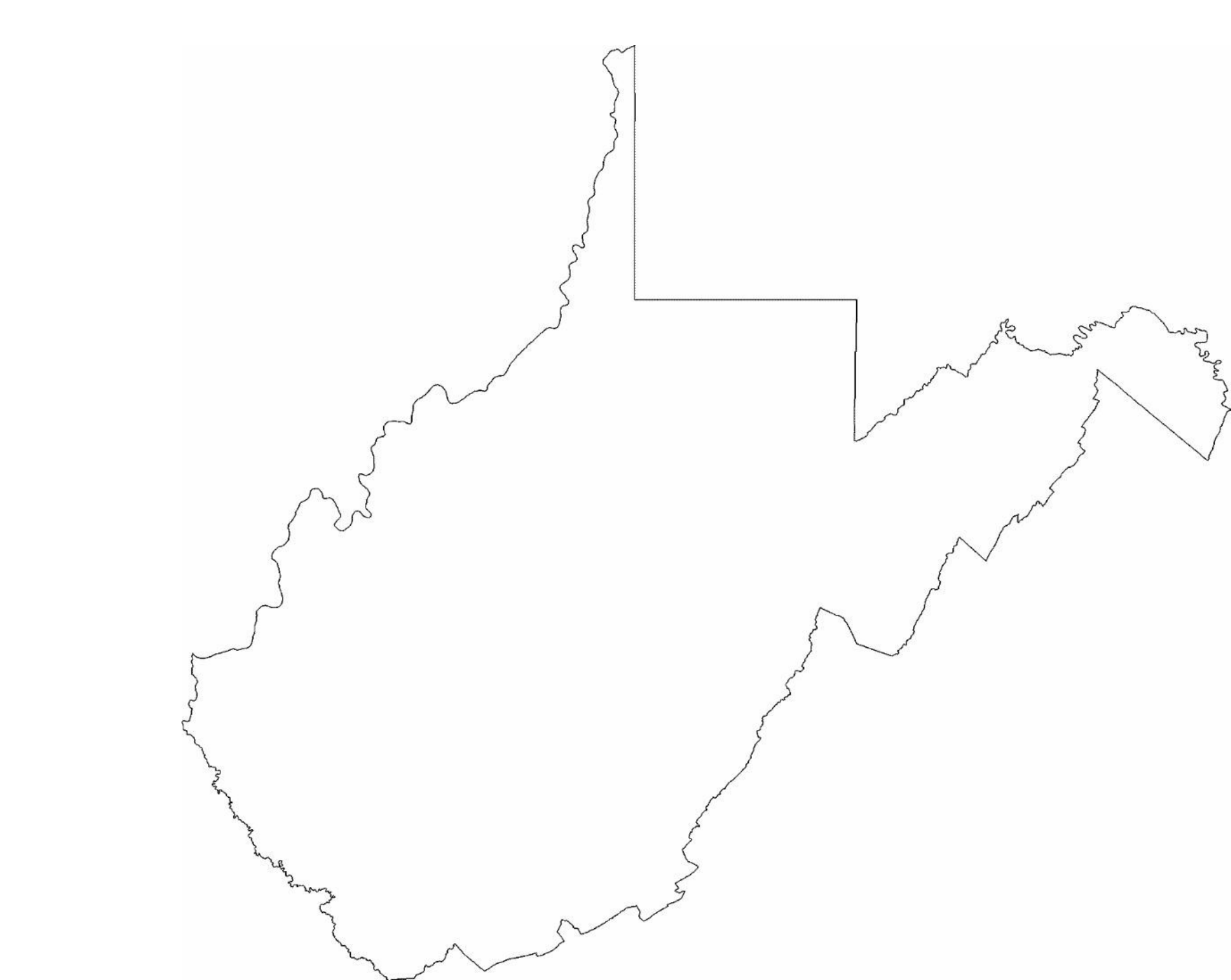 Outline Map Of West Virginia Tidal Treasures - State of west virginia map