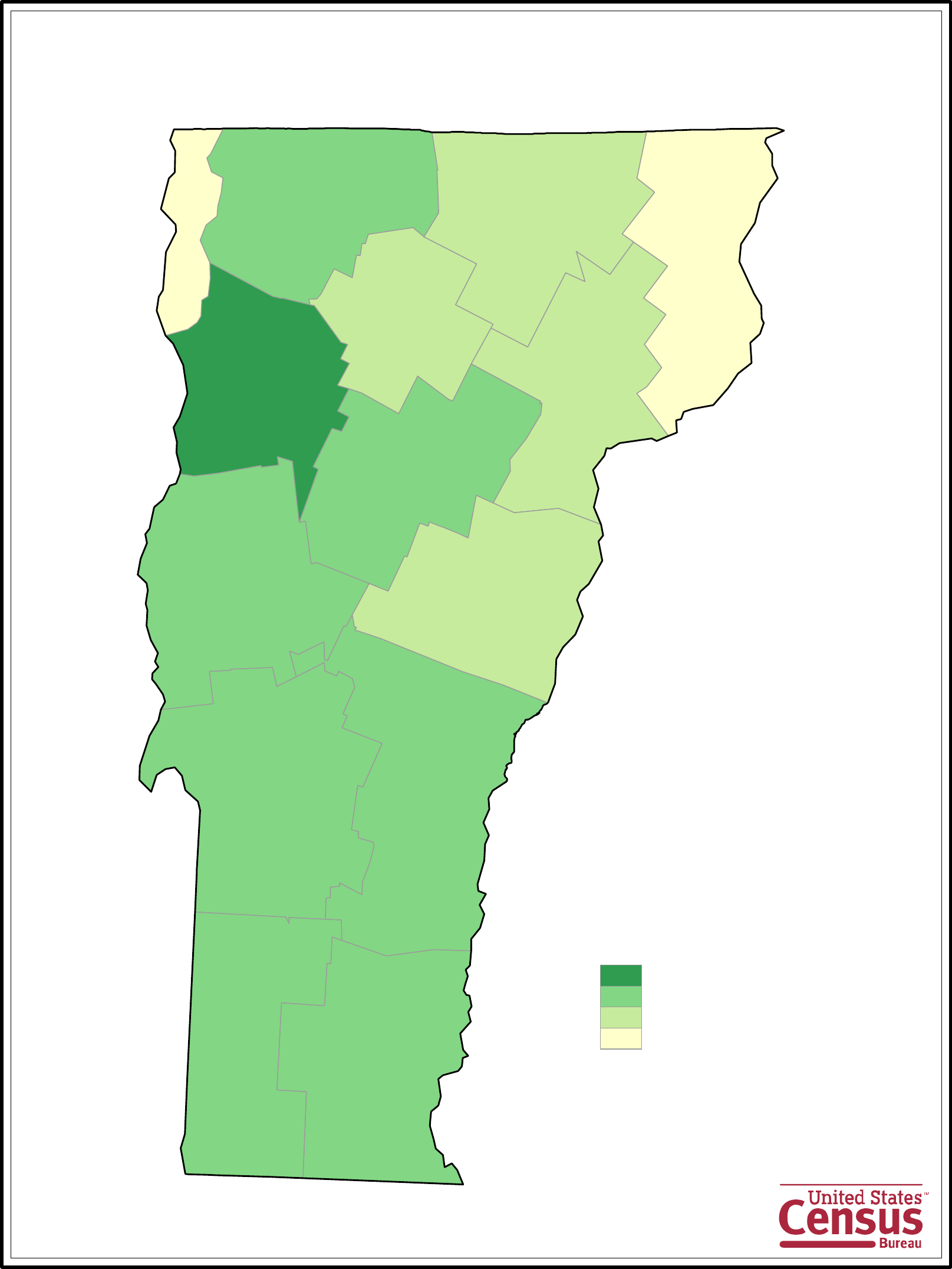 Vermont County Population Map Free Download