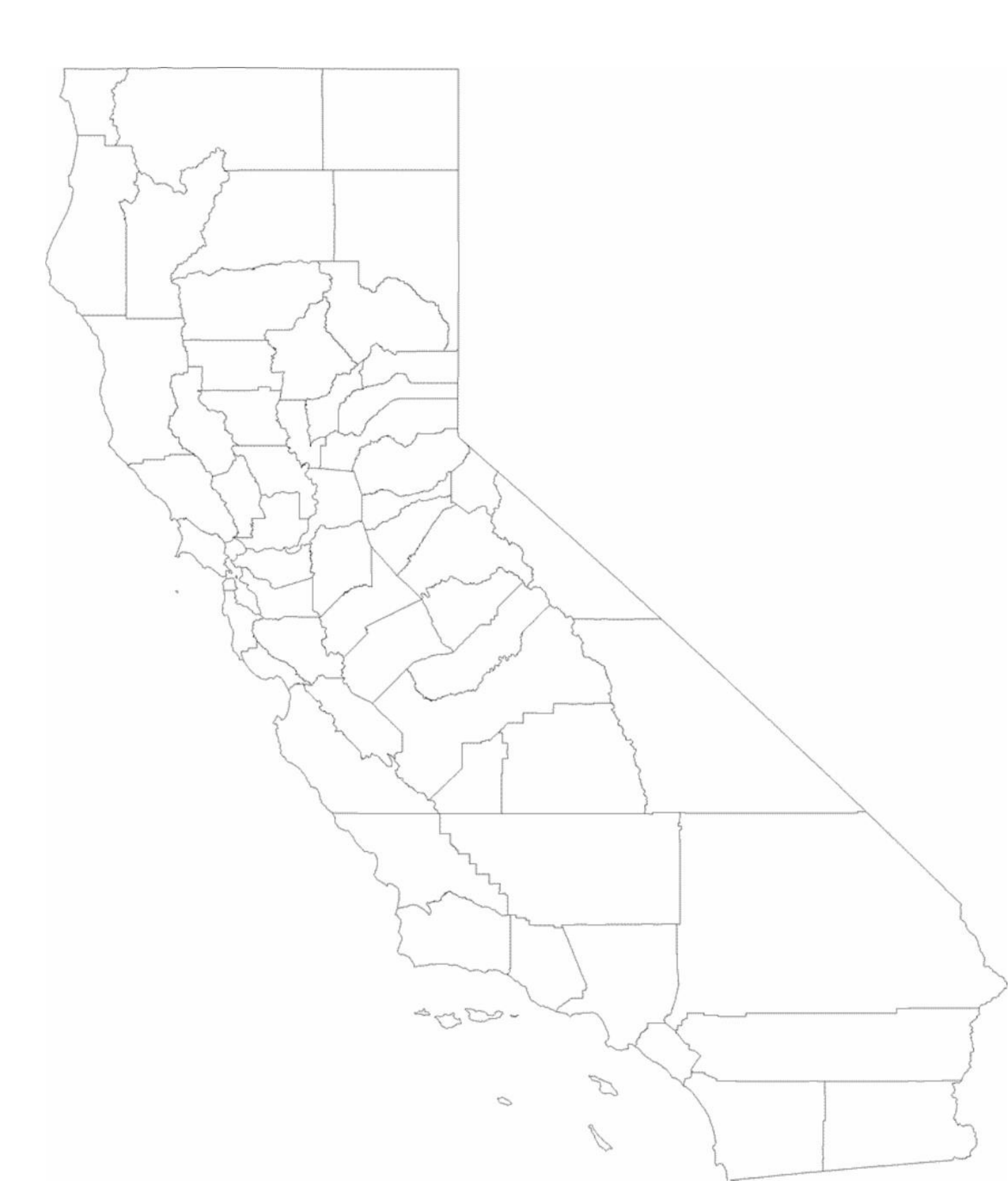 blank california county map free download