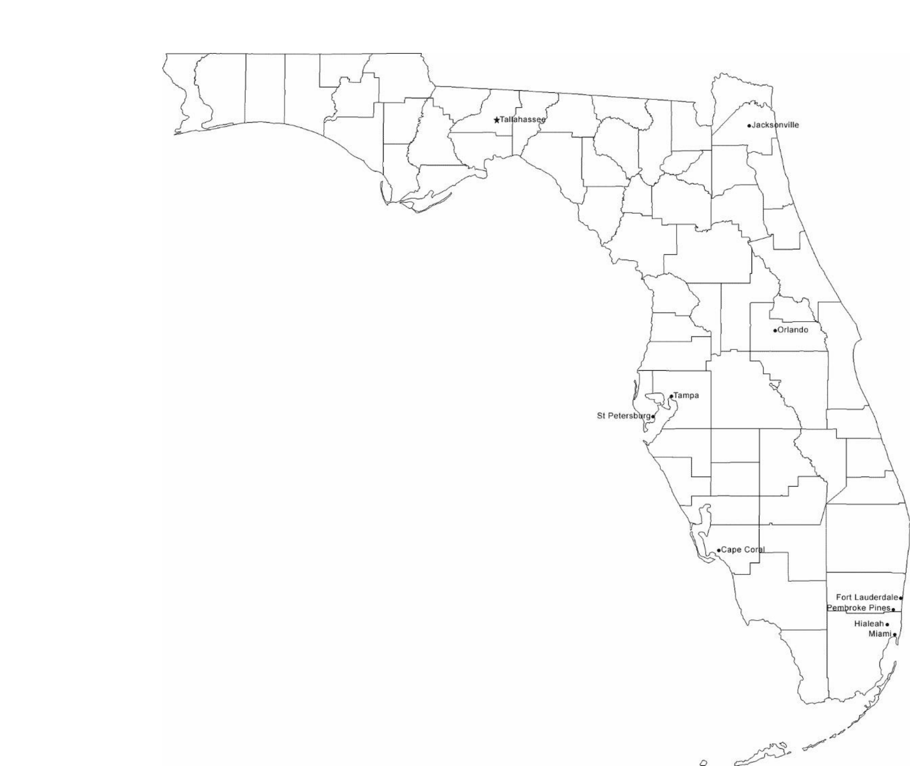 Map of Florida Cities with City Names Free Download