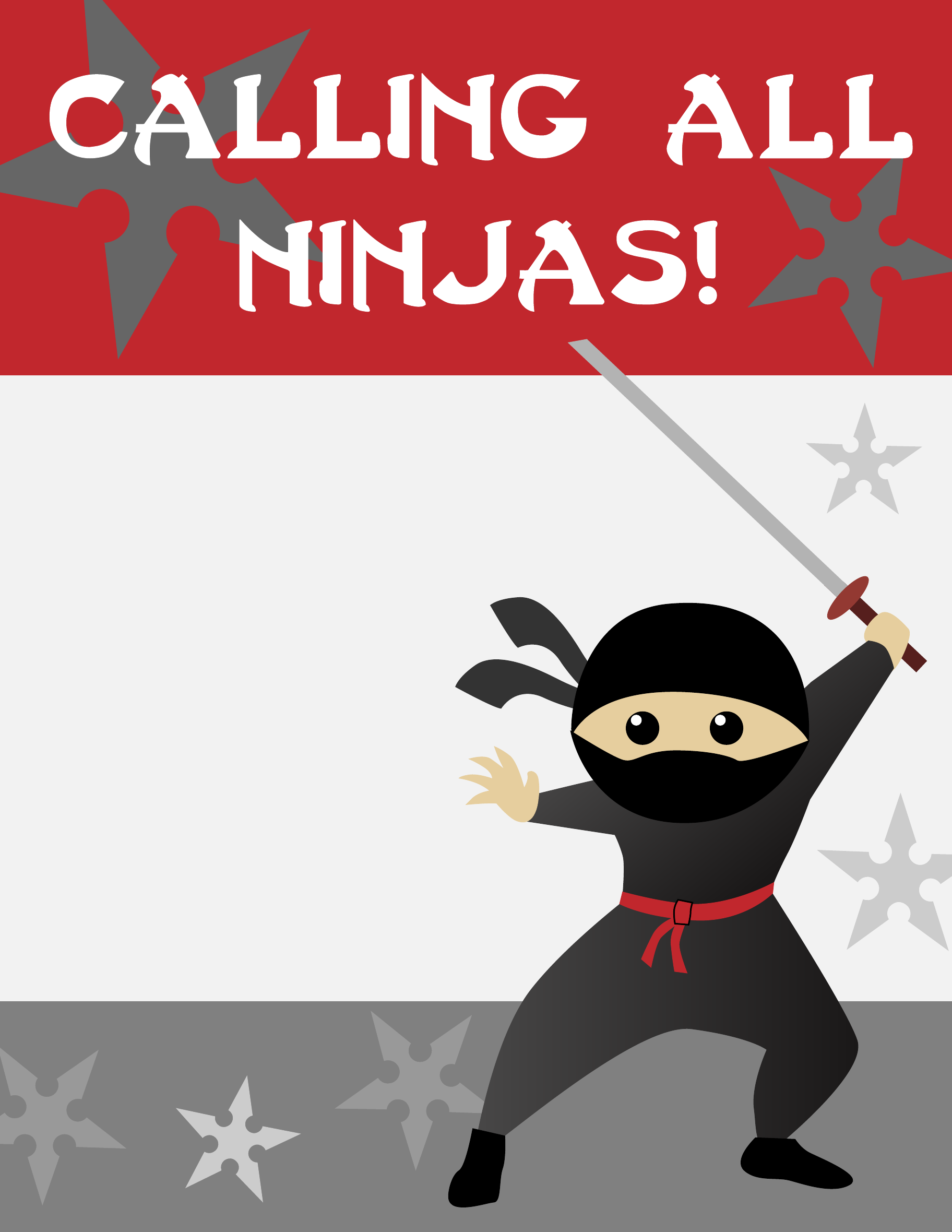 ninja birthday party invitations template free download