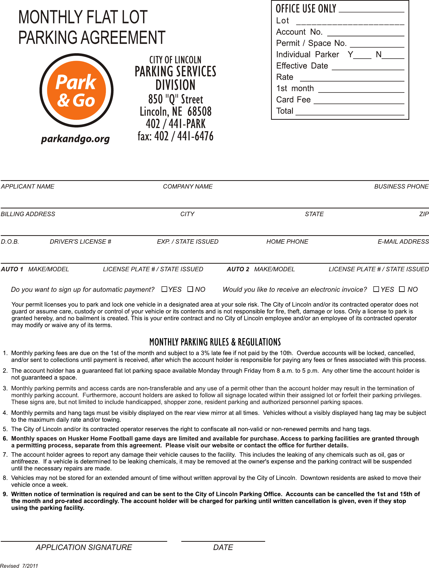 Sample Monthly Flat Lot Parking Agreement Free Download – Parking Agreement Template