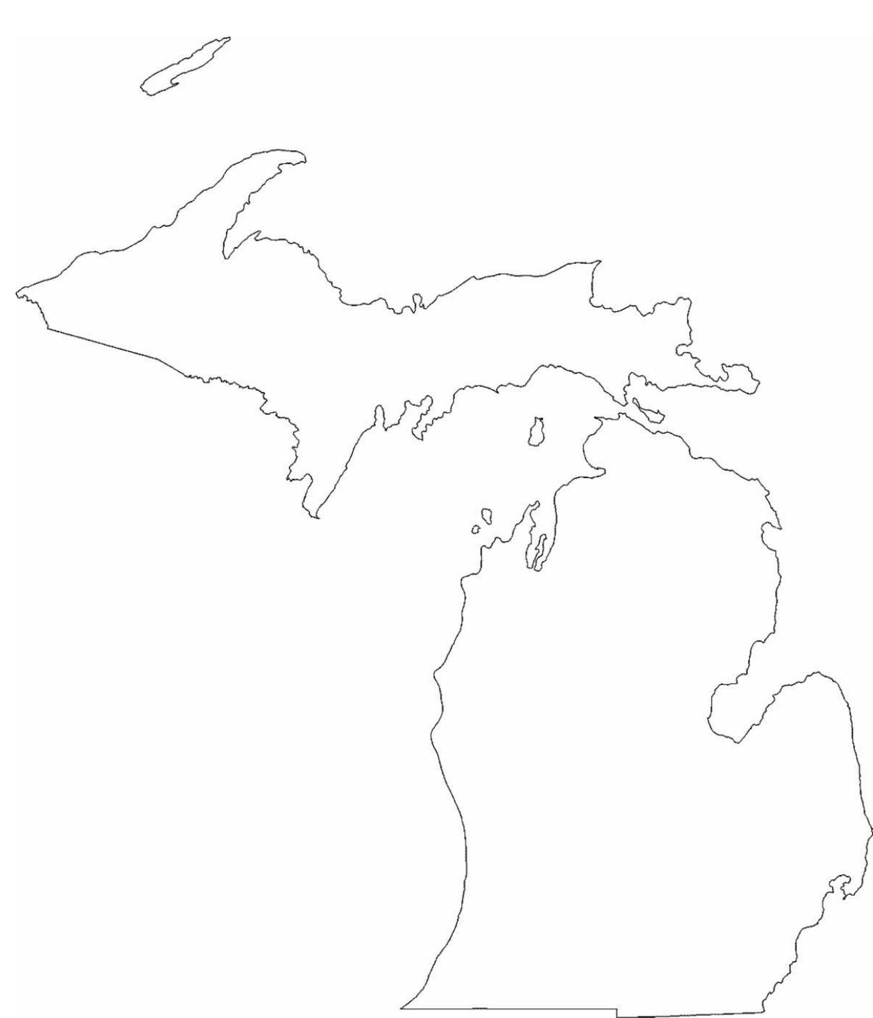 michigan state outline map free download