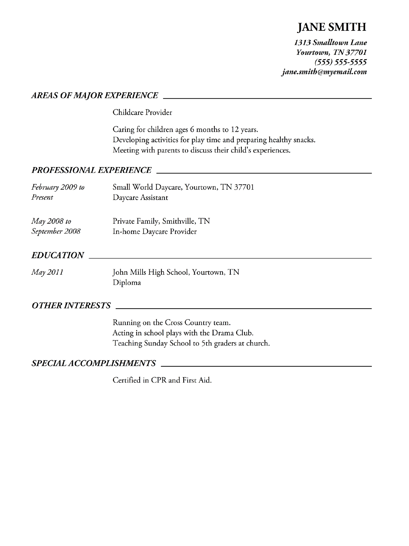 Sample High School Resumes And Cover Letters Free Download