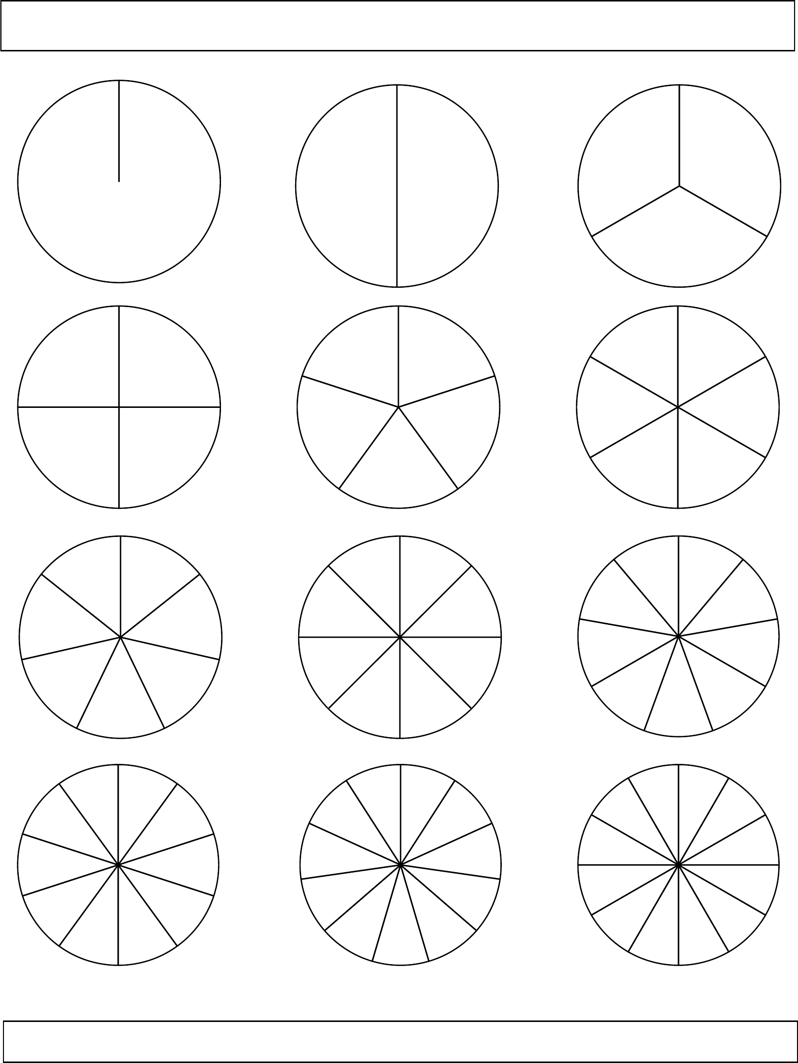 math worksheet : black and white fraction circles no labels small  e free download : Fraction Circles Worksheet