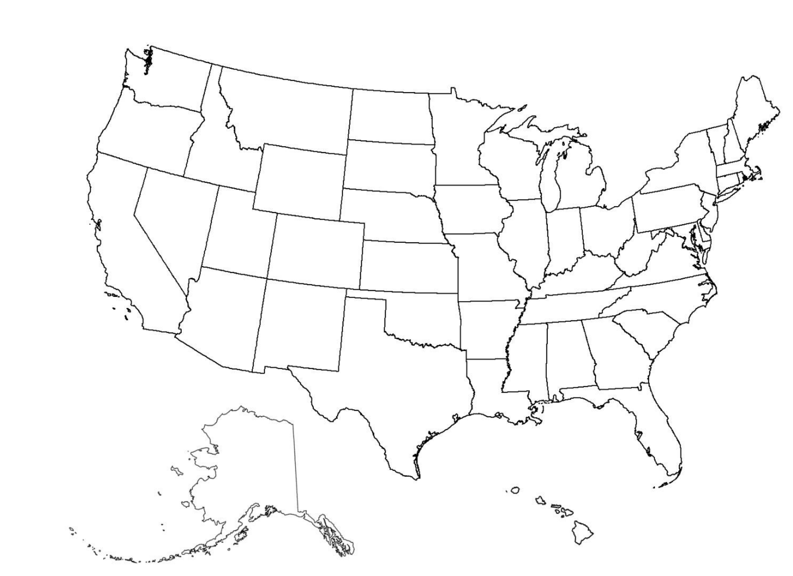Blank US Map Free Download - Blank us map png