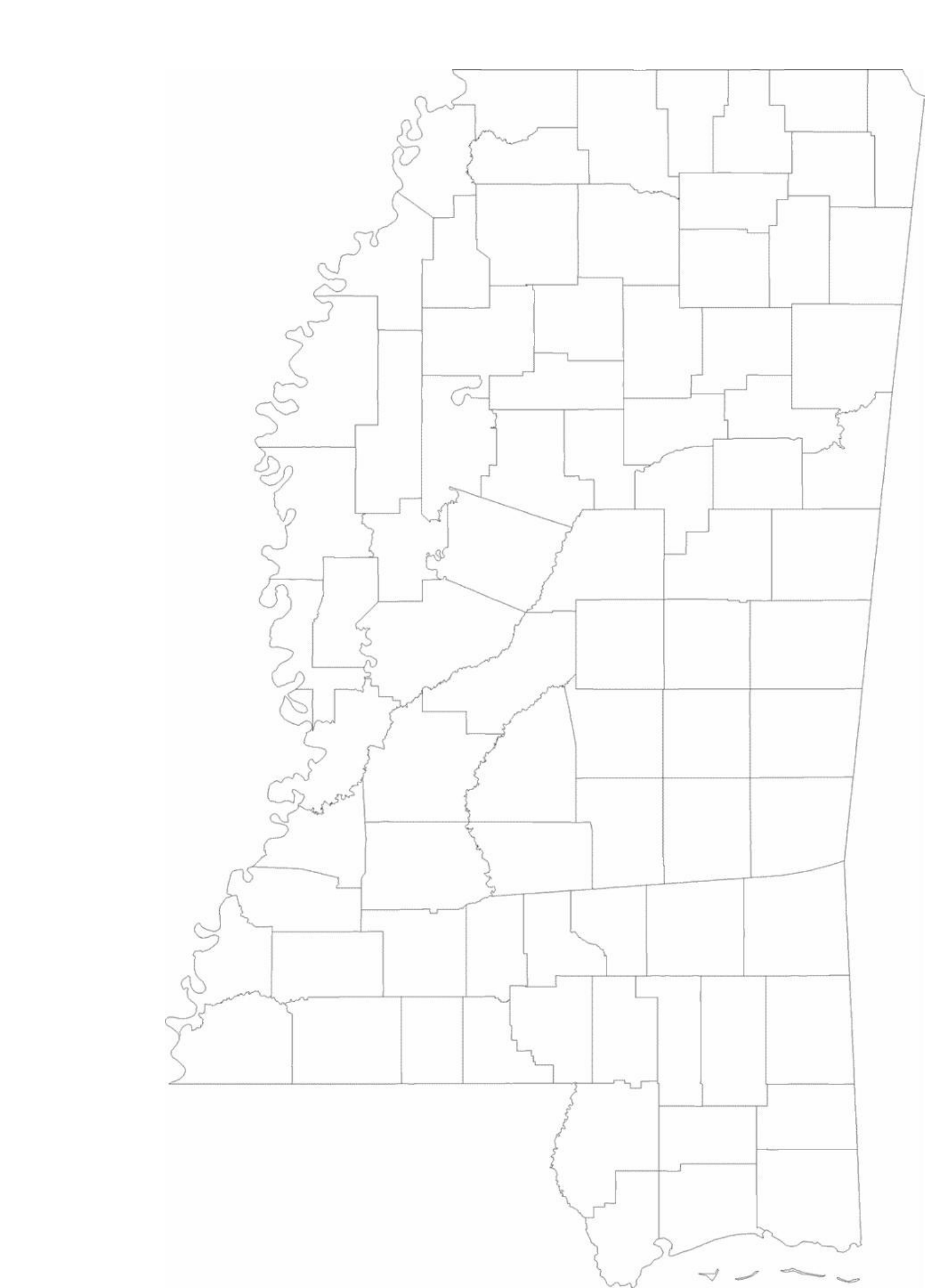 Blank Mississippi County Map Free Download