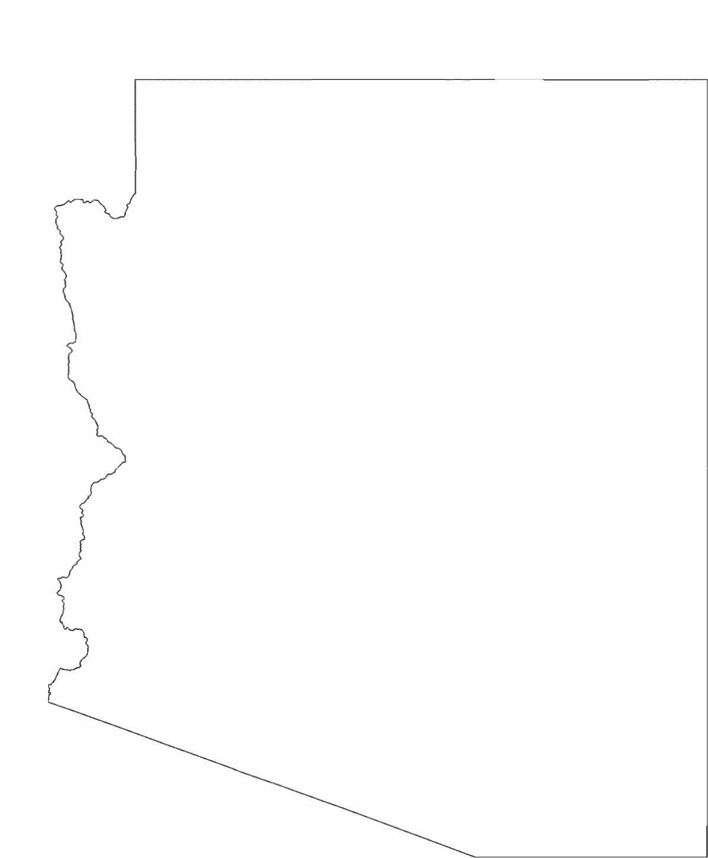 Arizona State Outline Map Free Download