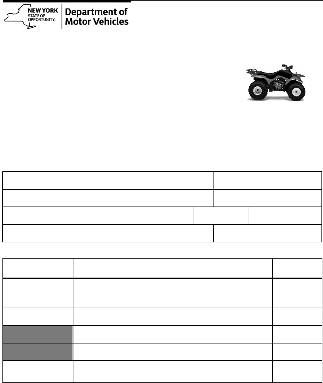 All-Terrain Vehicle Registration Form