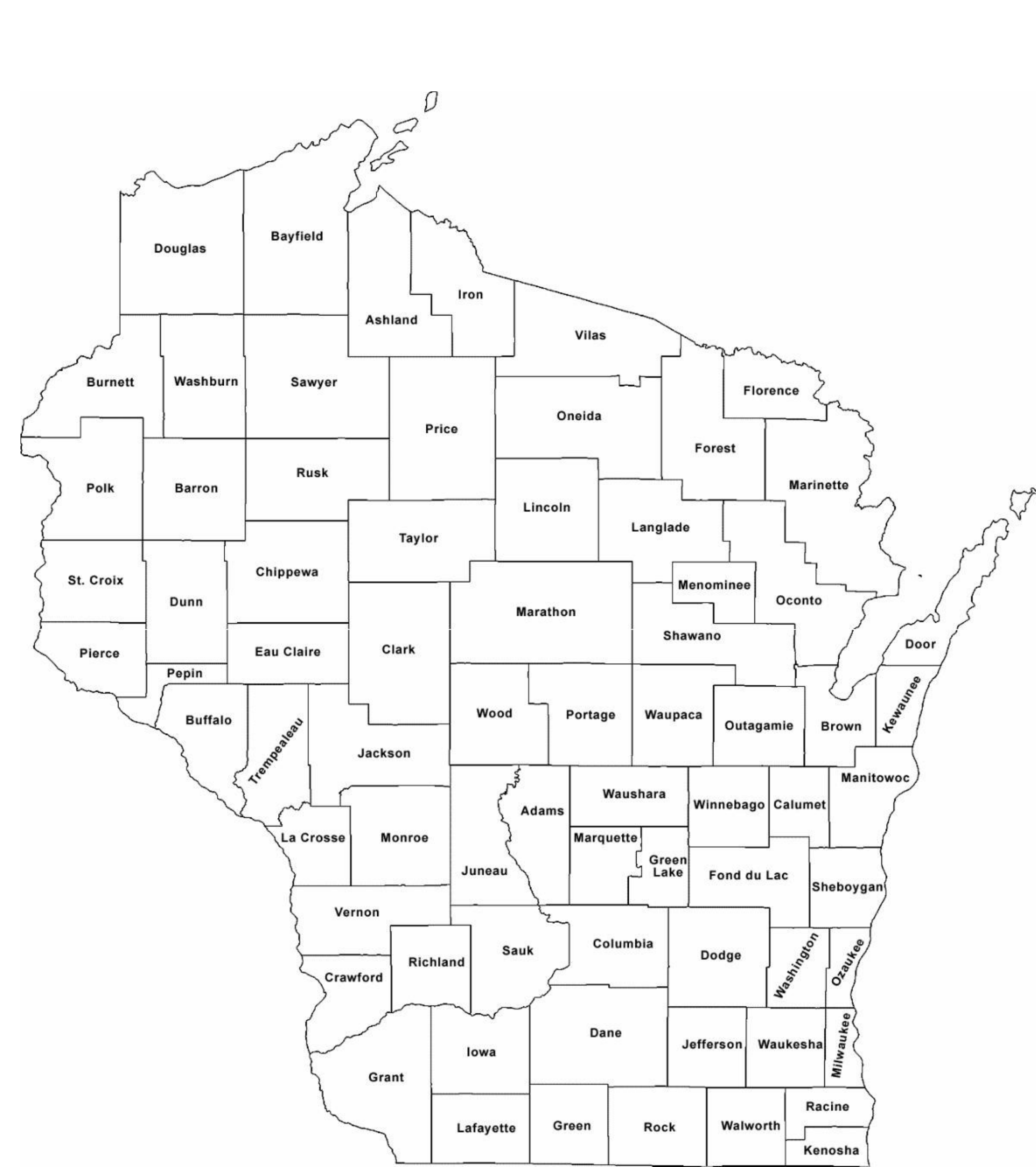 Wisconsin County Map With County Names Free Download
