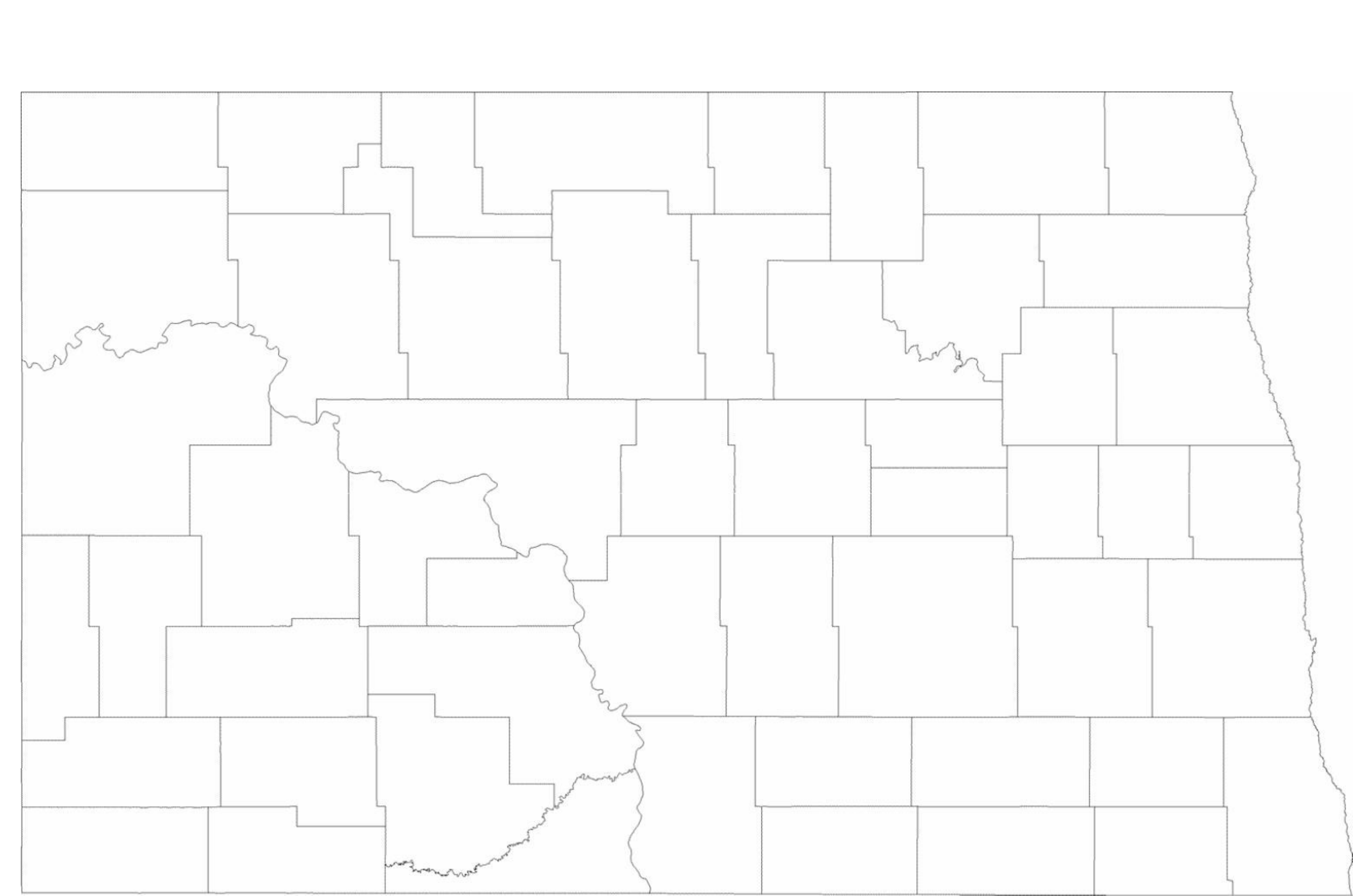 Blank North Dakota County Map Free Download