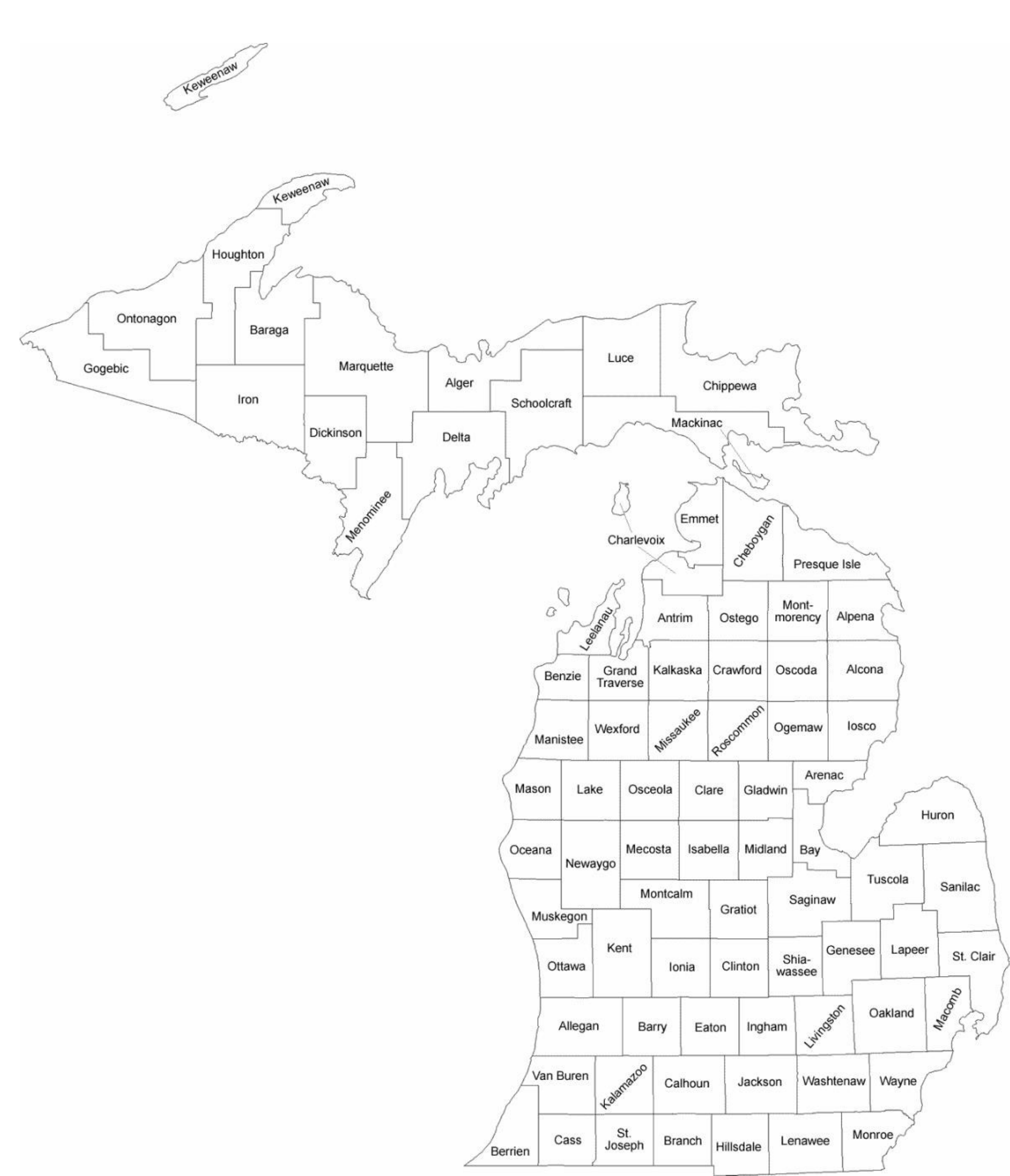 Michigan County Map with County Names Free Download