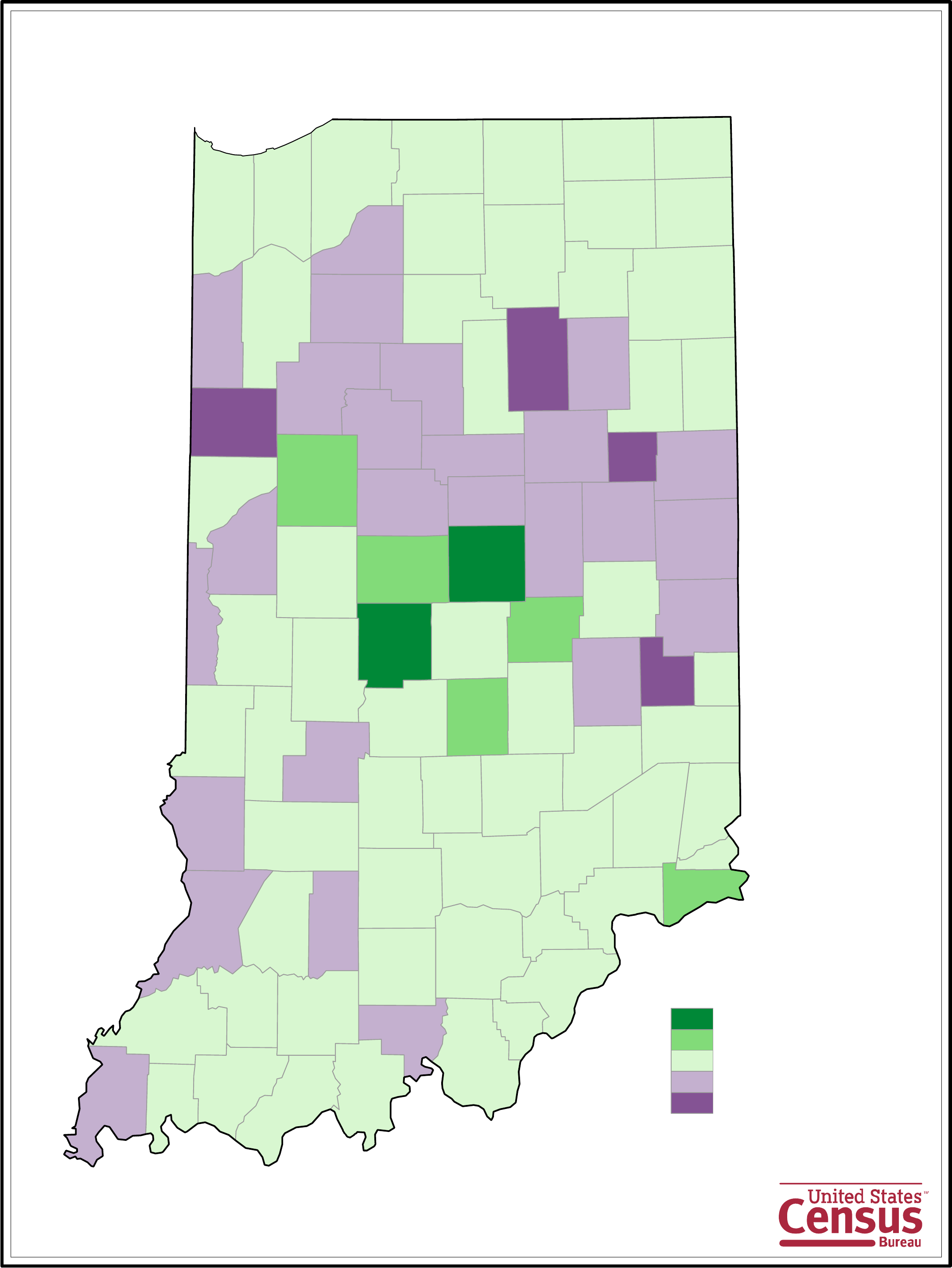 Indiana County Population Change Map Free Download - Map of indiana county us census