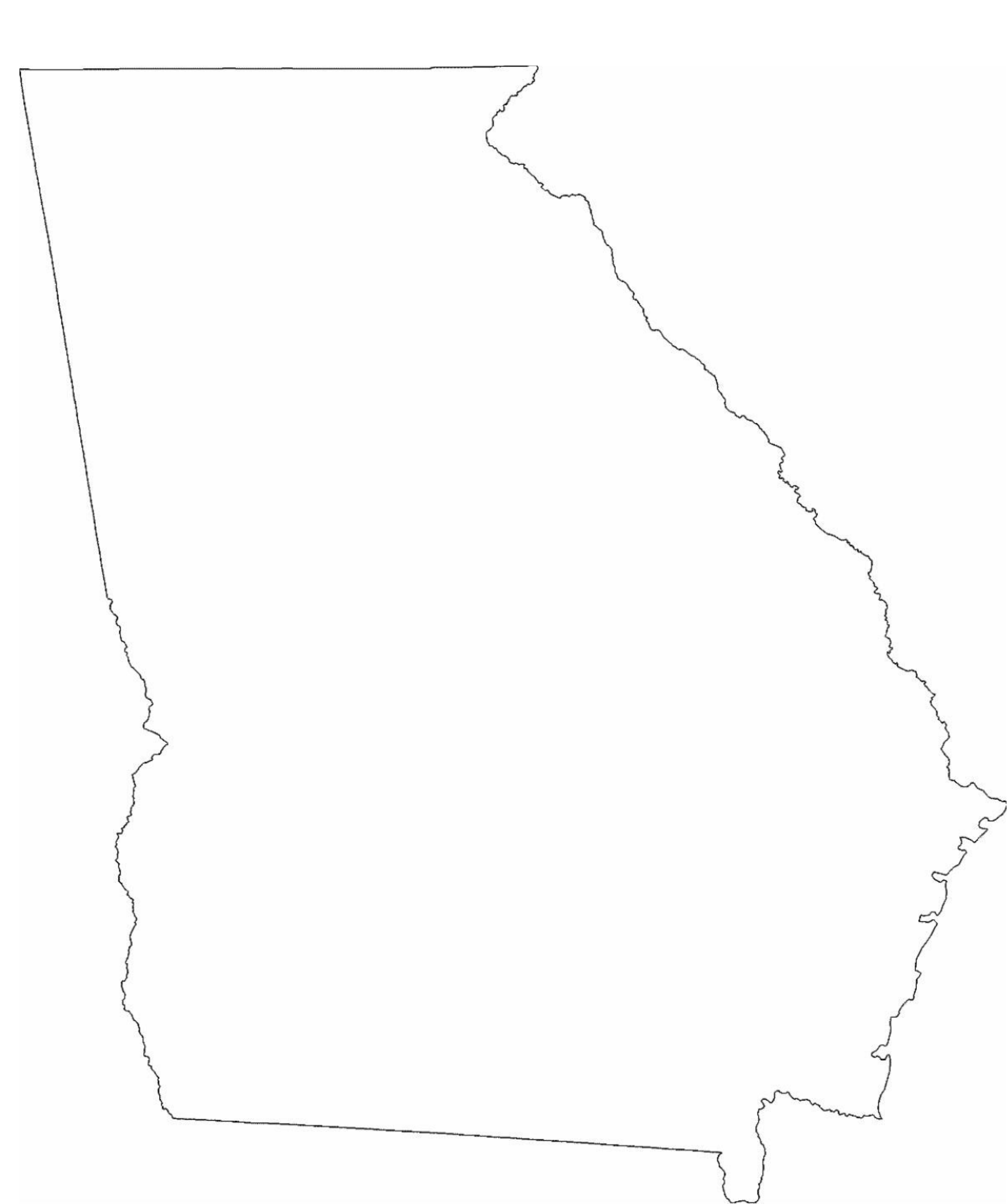 Georgia State Outline Map Free Download - Georgia map template