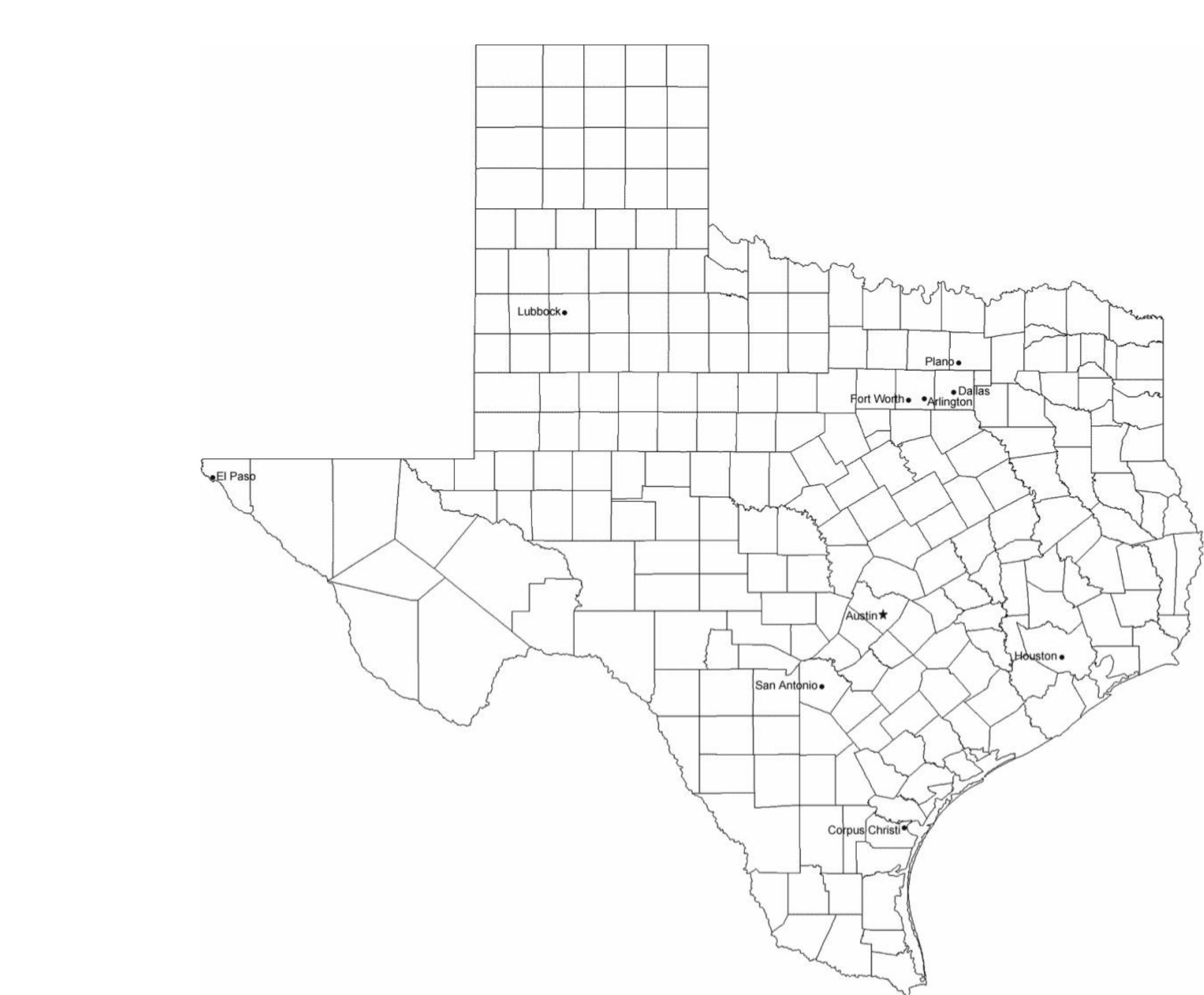 map of texas cities with city names free download