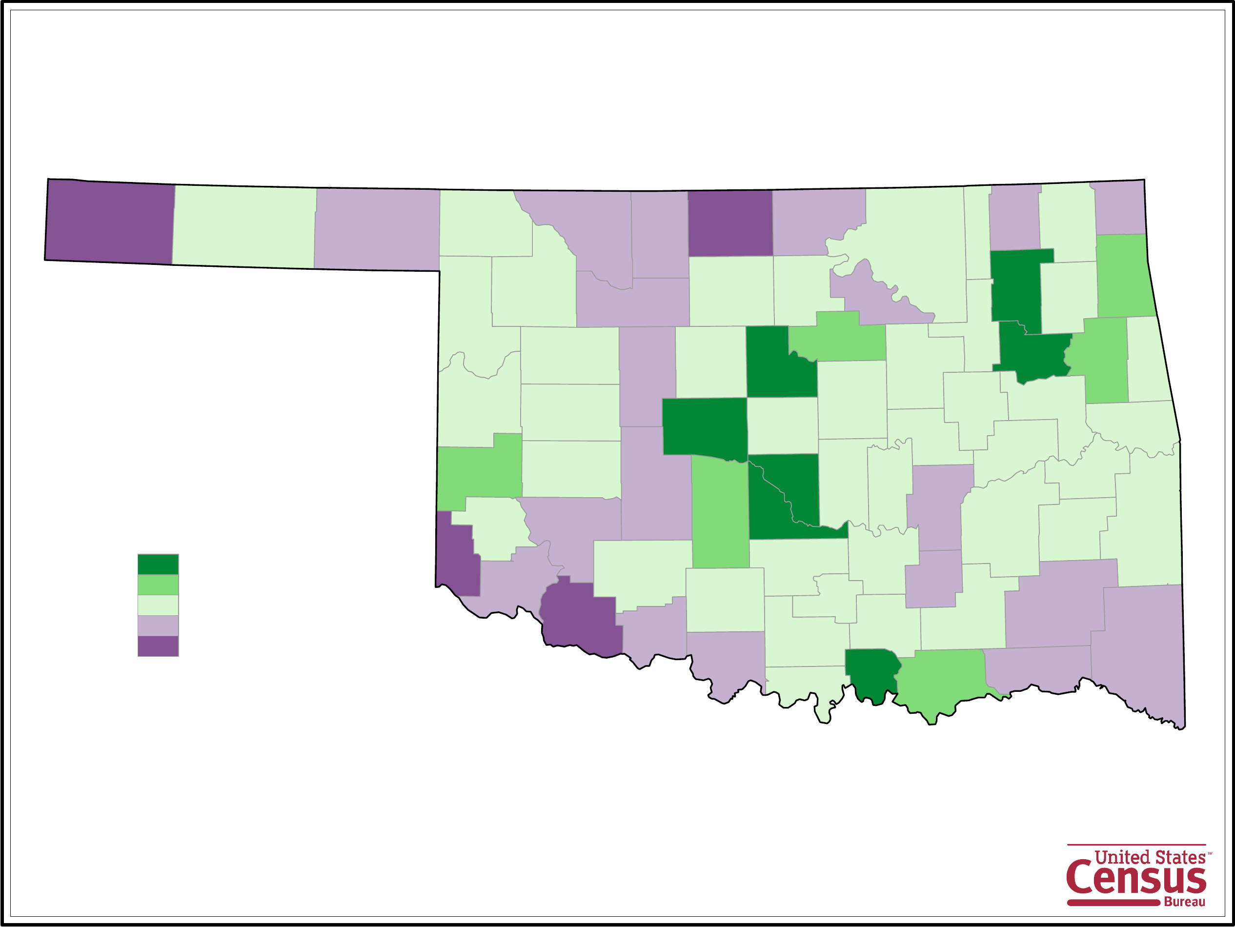 Oklahoma County Population Change Map Free Download