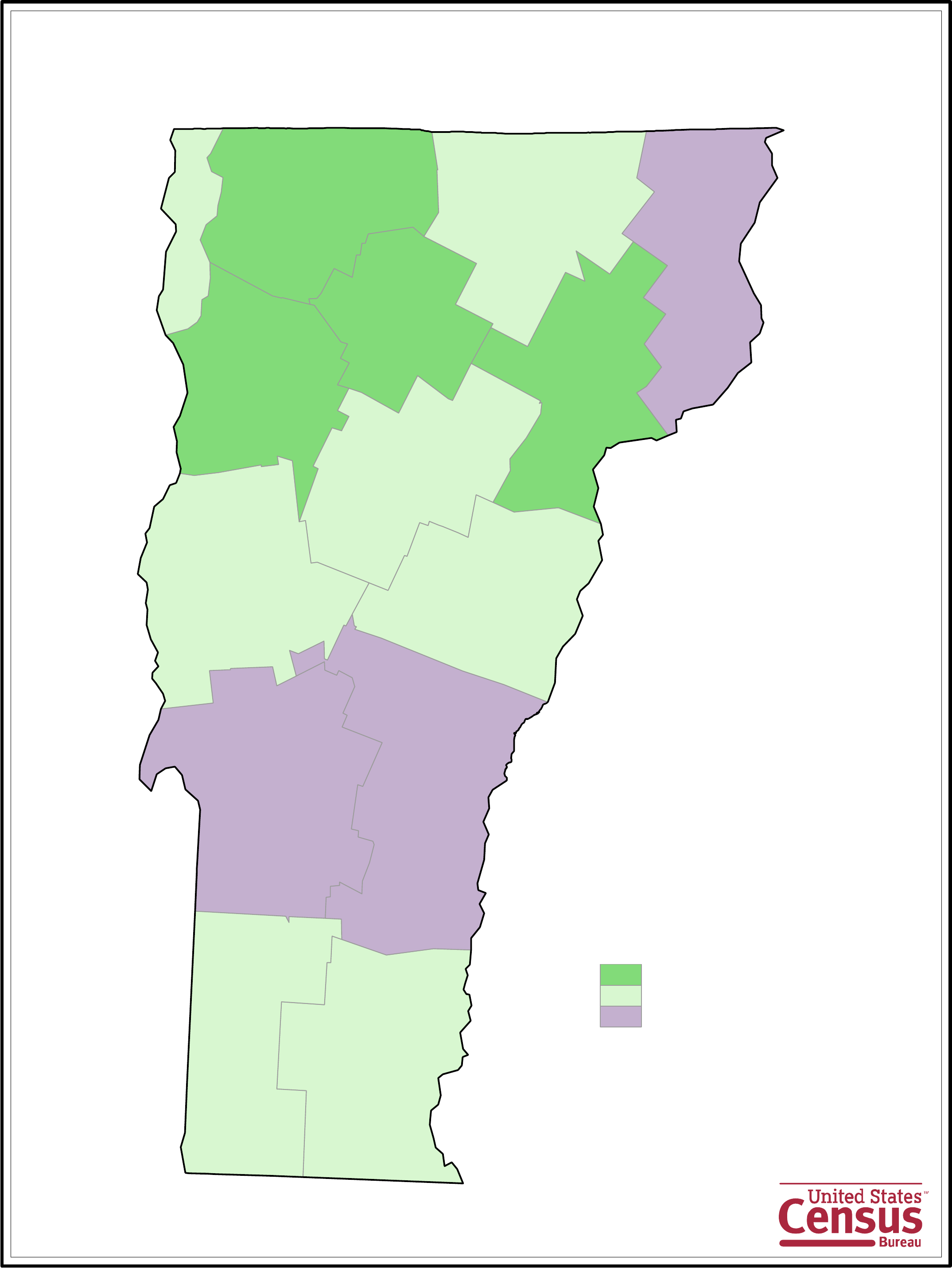 Vermont County Population Change Map Free Download