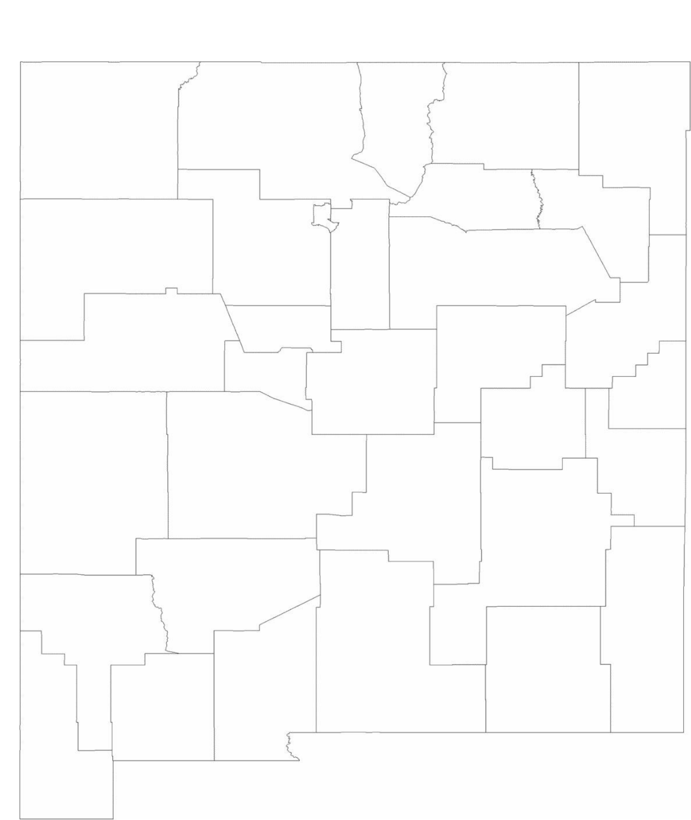 Blank New Mexico County Map Free Download