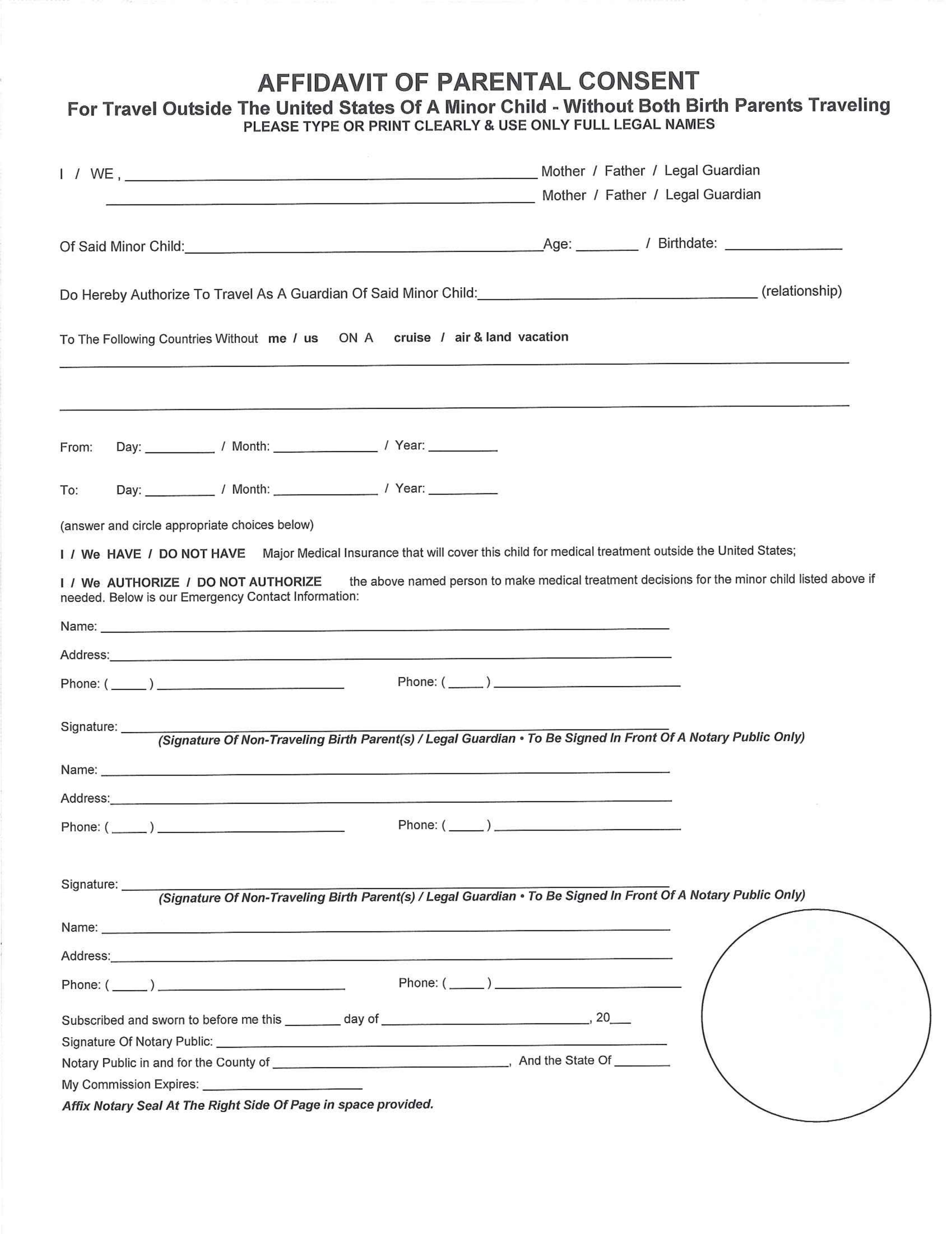 Affidavit for parental consent form free download for Free child travel consent form template