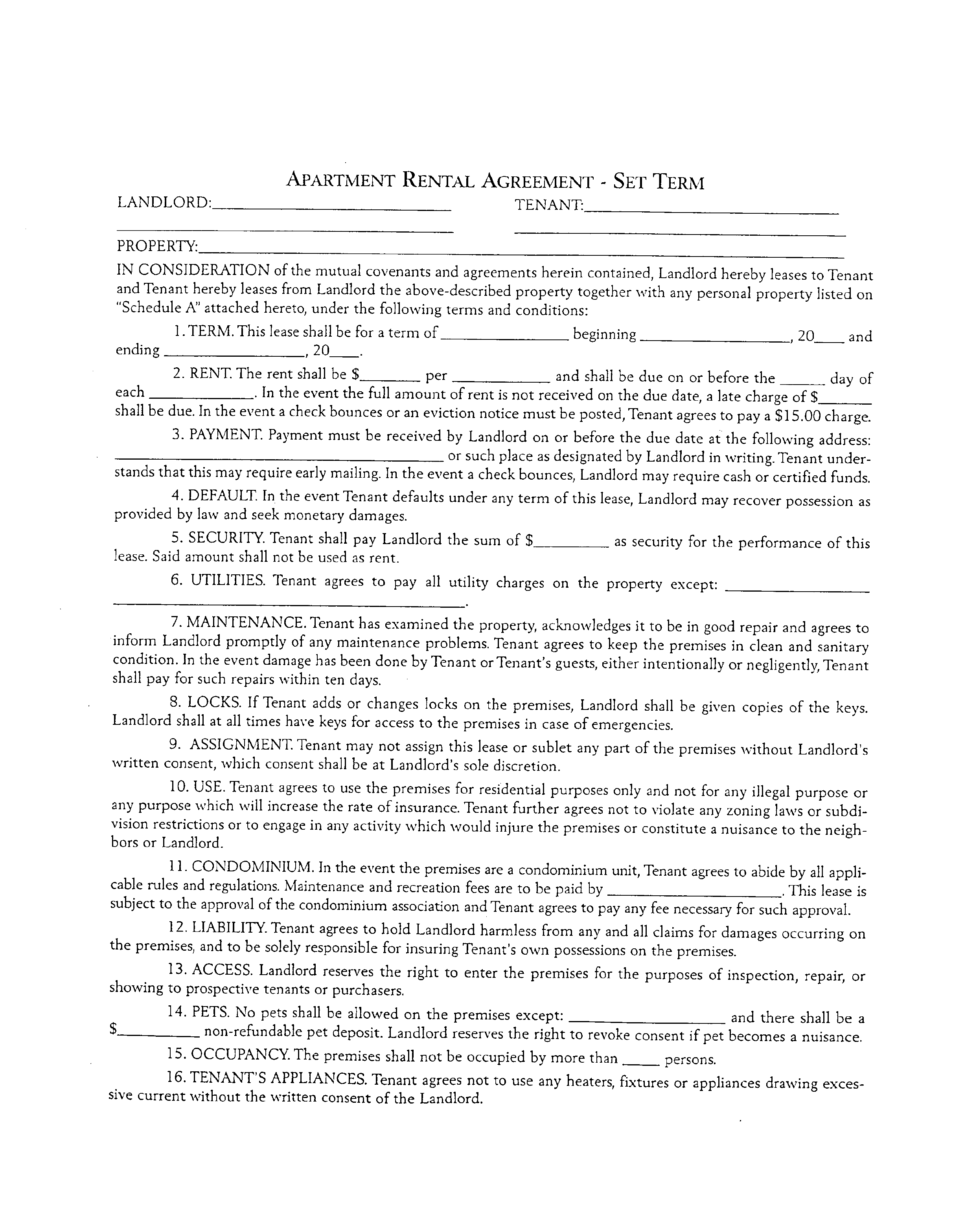 Apartment Rental And Lease Sample Form Free Download - Apt lease agreement template
