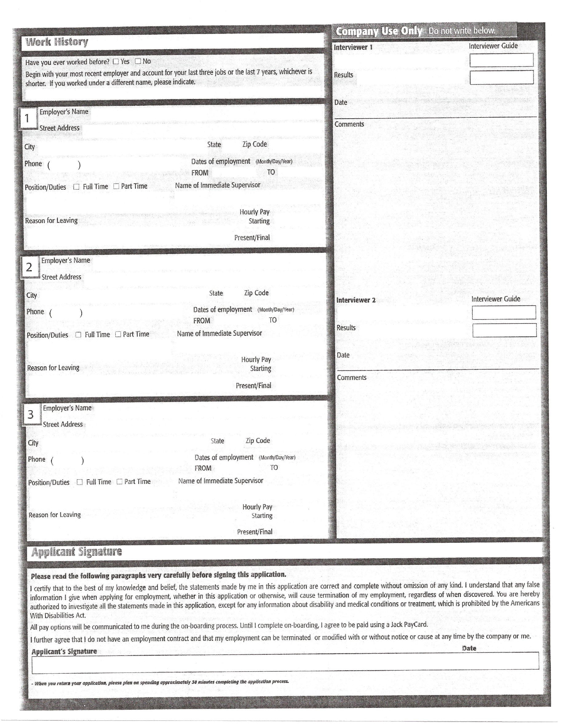 Jack In The Box Part Time Job Application Form Free Download
