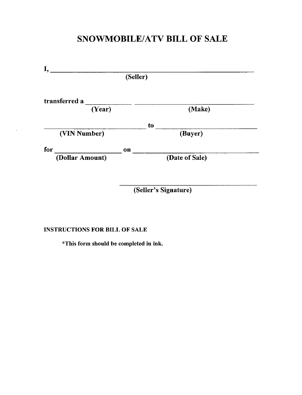 Printable Bill Of Sale Free Form New Bill Of Sale Form Michigan