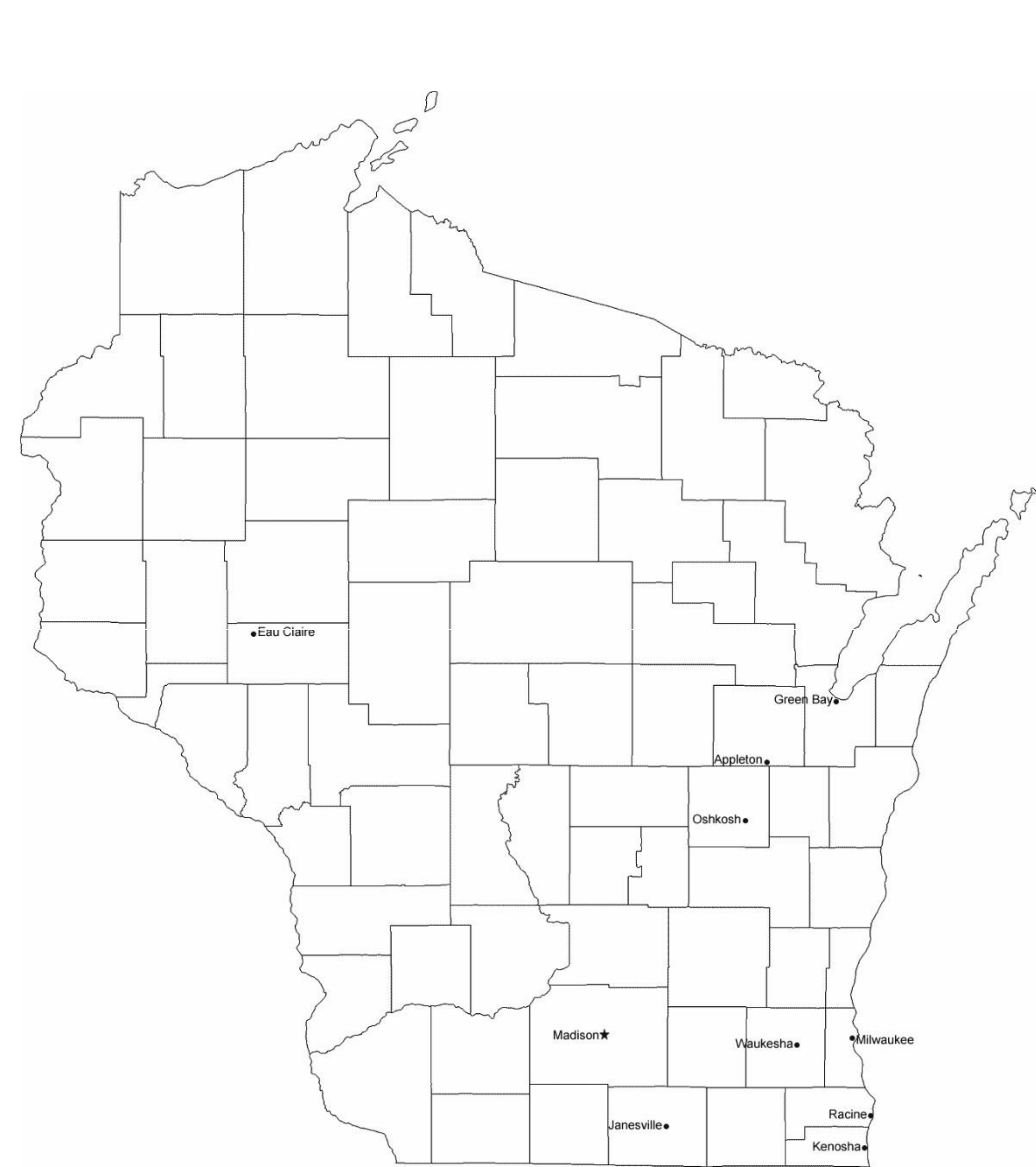 Map Of Wisconsin Cities With City Names Free Download