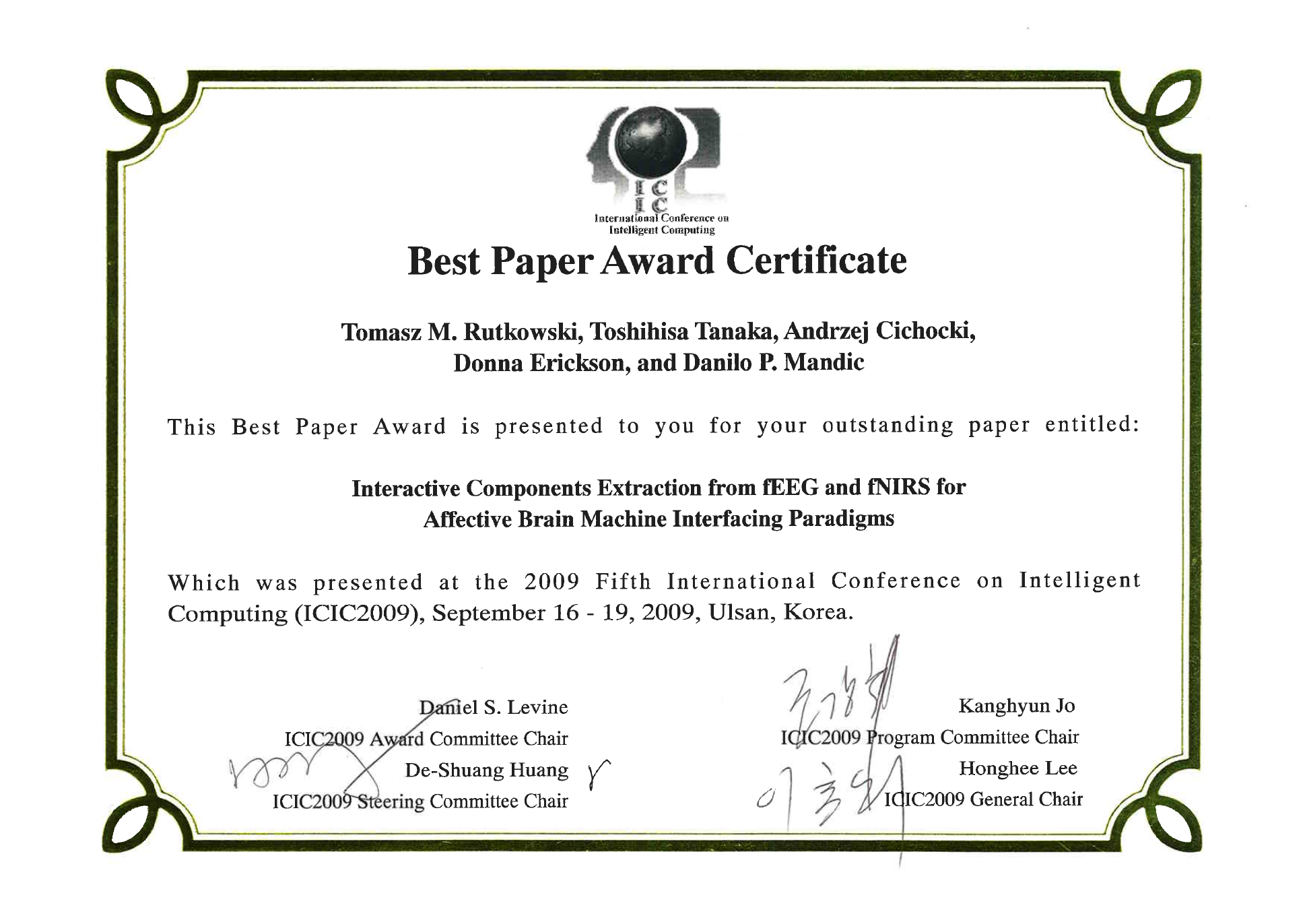 Best Paper Award Certificate Free Download