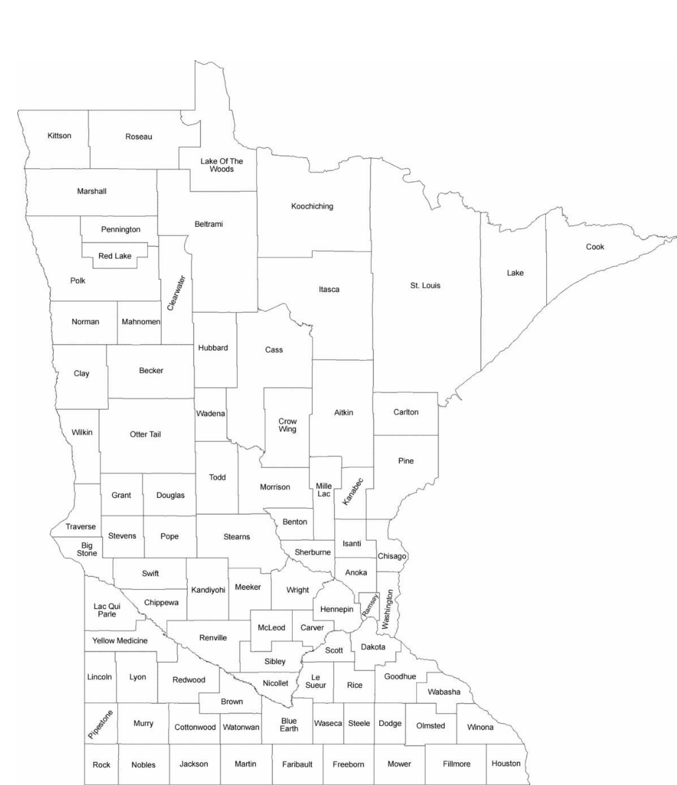 graphic regarding Minnesota County Map Printable called Minnesota County Map with County Names No cost Down load