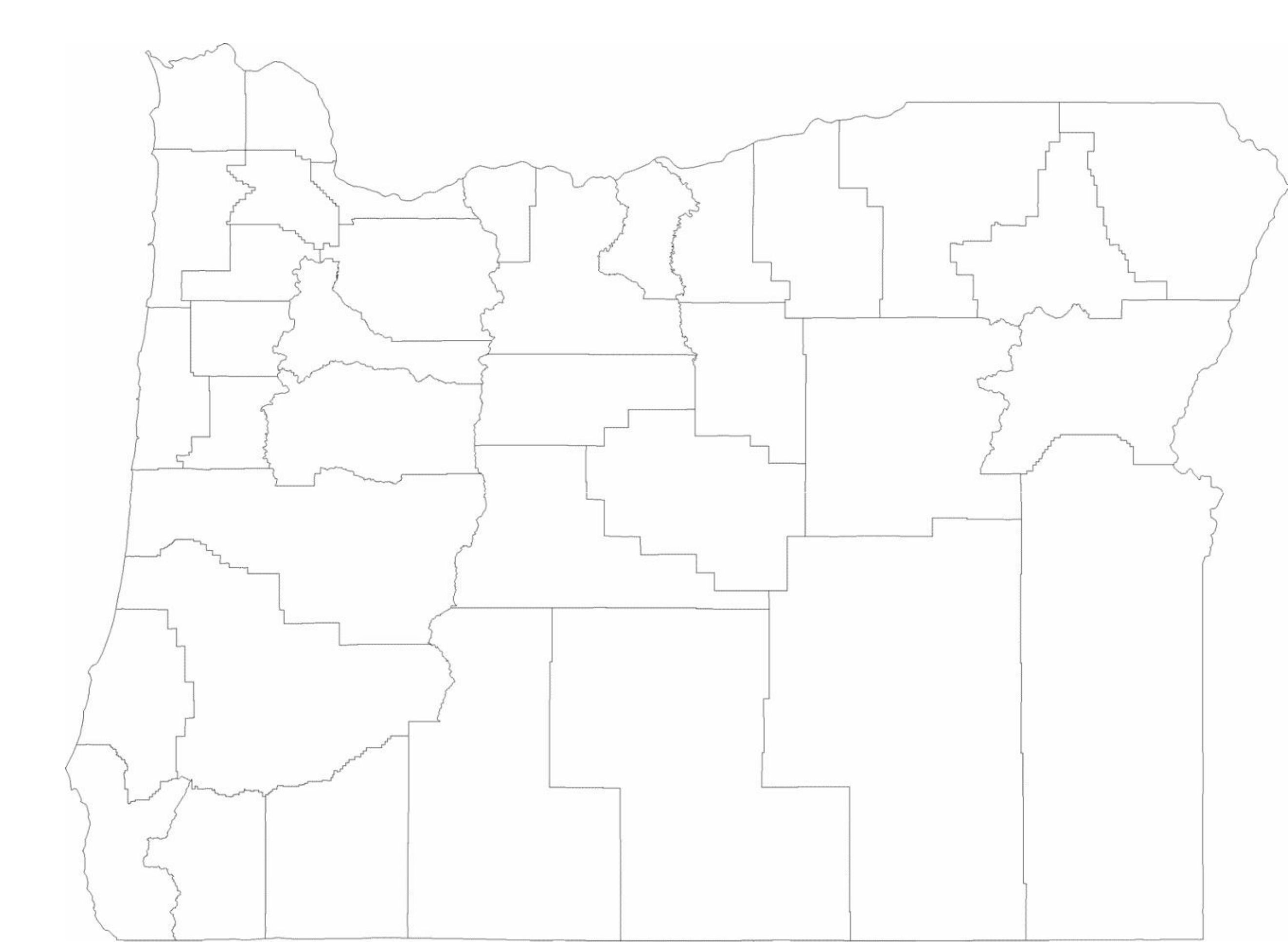 Blank Oregon County Map Free Download
