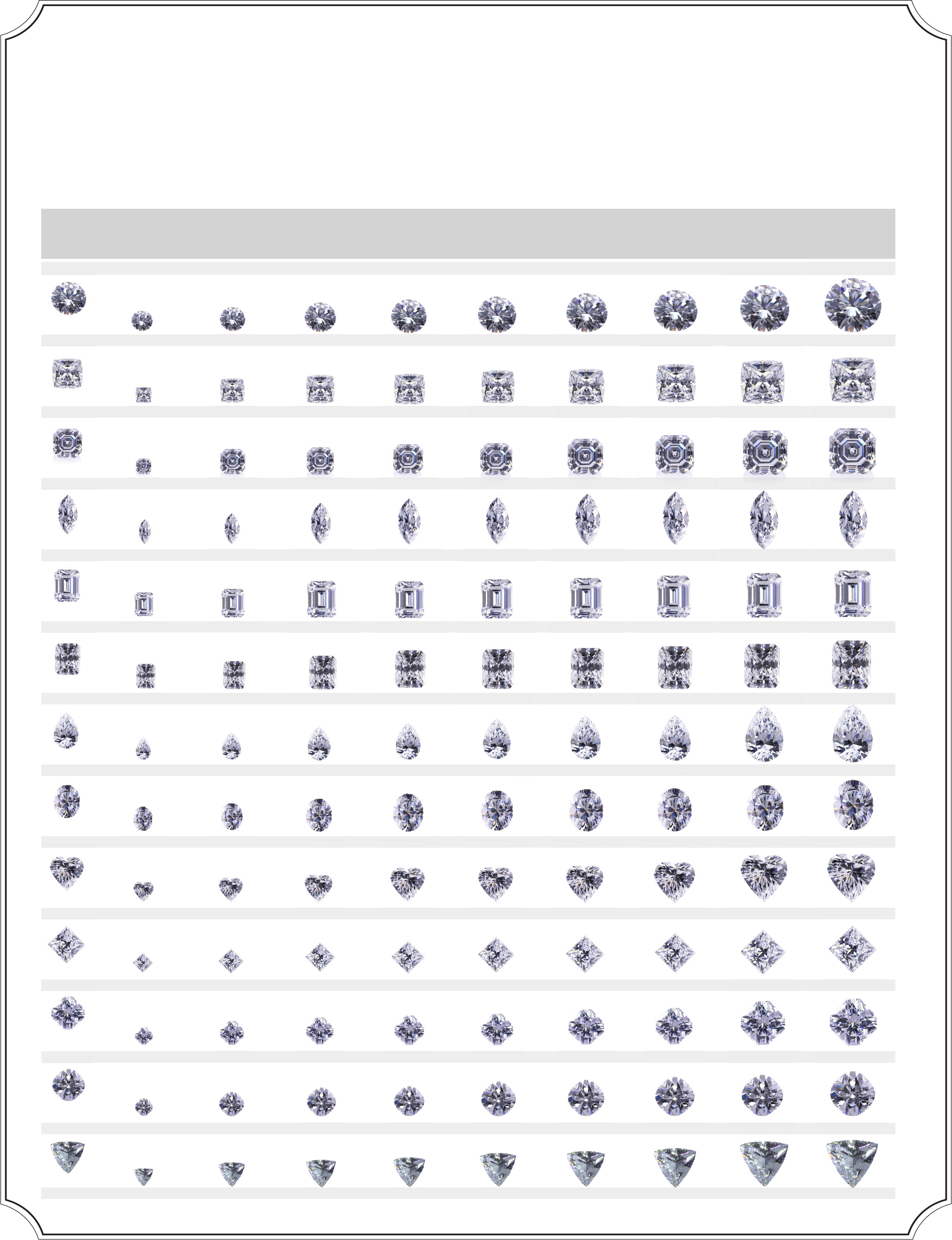 Actual Diamond Size Chart Free Download – Diamond Size Chart Template