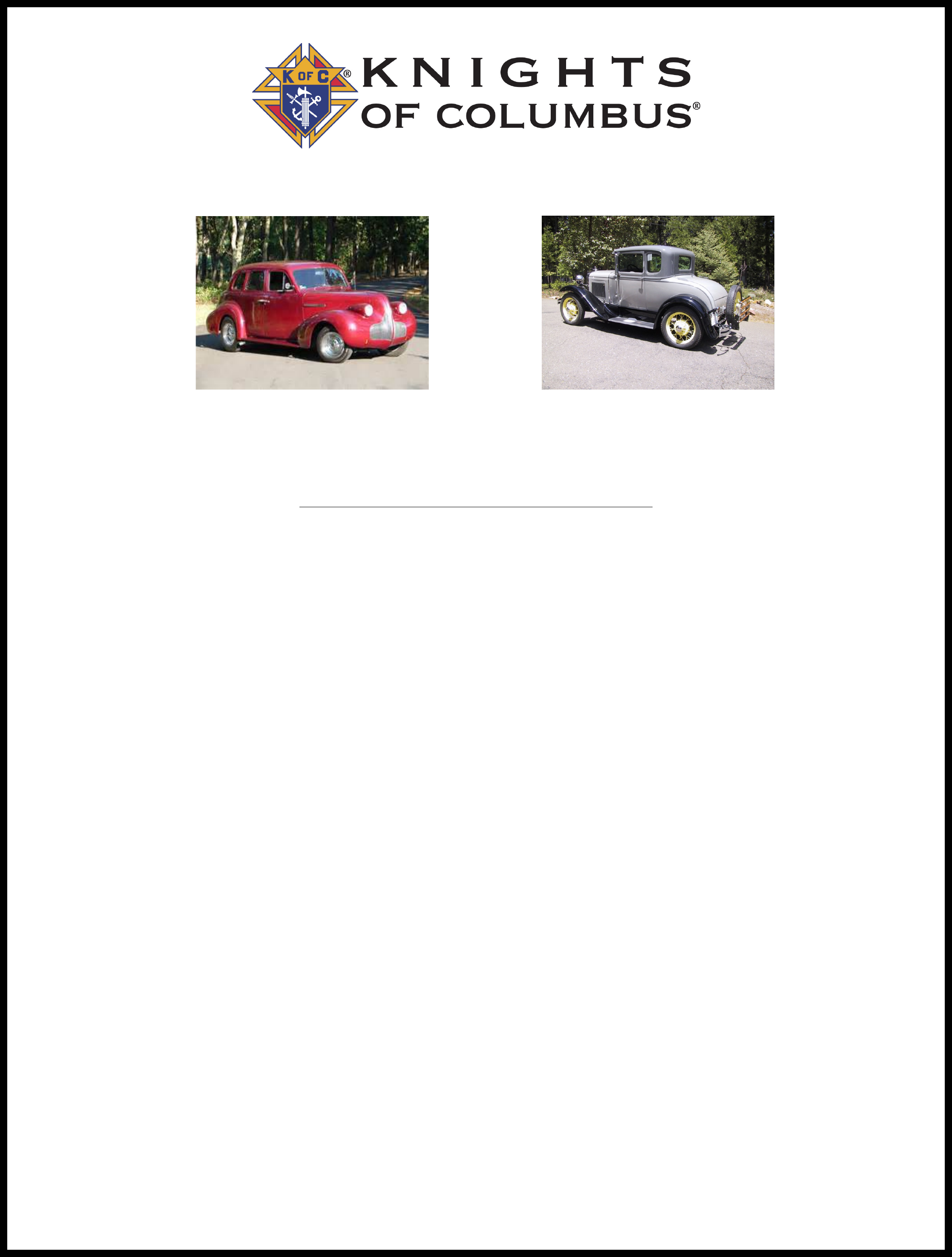 Vehicle Registration Ca >> Car Show Registration Form - KNIGHTS OF COLUMBUS Free Download