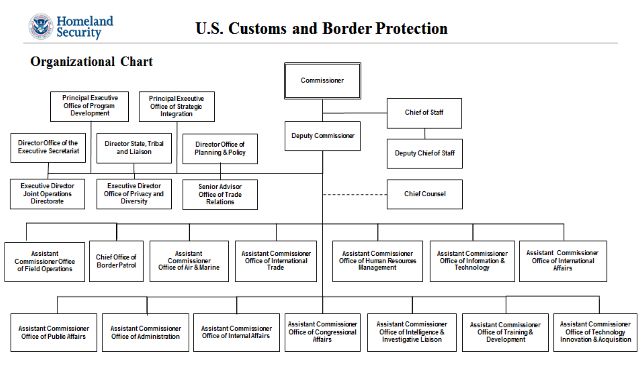Department Of Homeland Security Organizational Chart Us