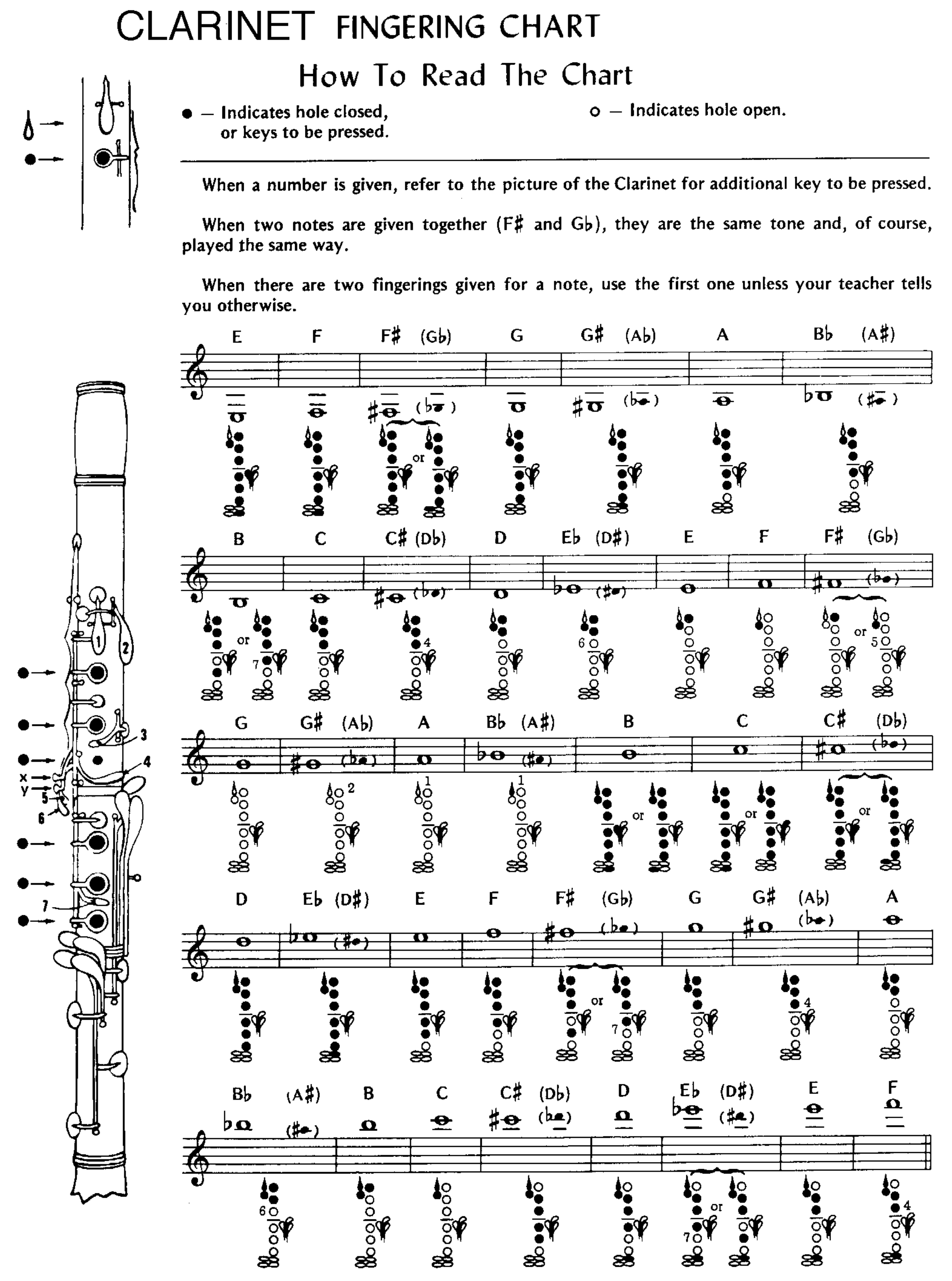 picture about Clarinet Finger Chart for Beginners Printable named Pattern Clarinet Fingering Chart Cost-free Down load